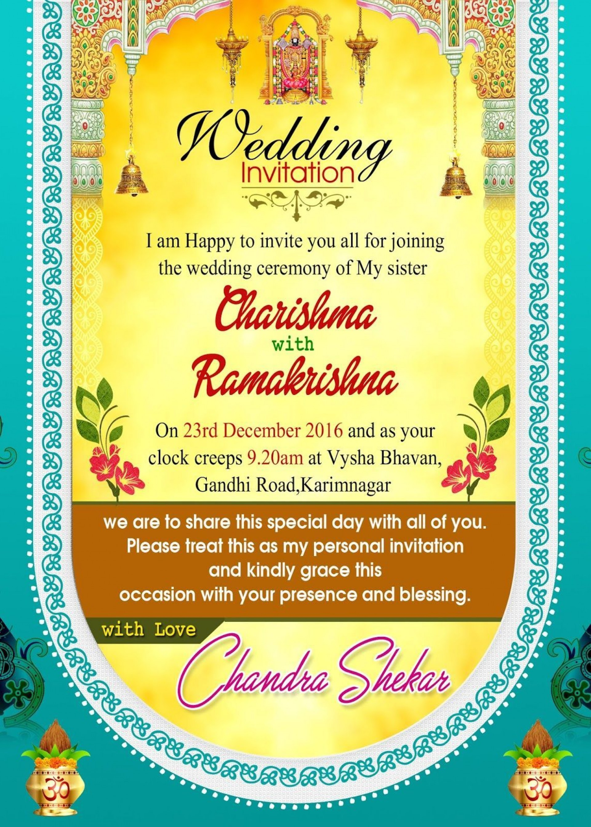 001 Stirring Free Online Indian Invitation Template Picture  Templates Engagement Card Maker Wedding1920