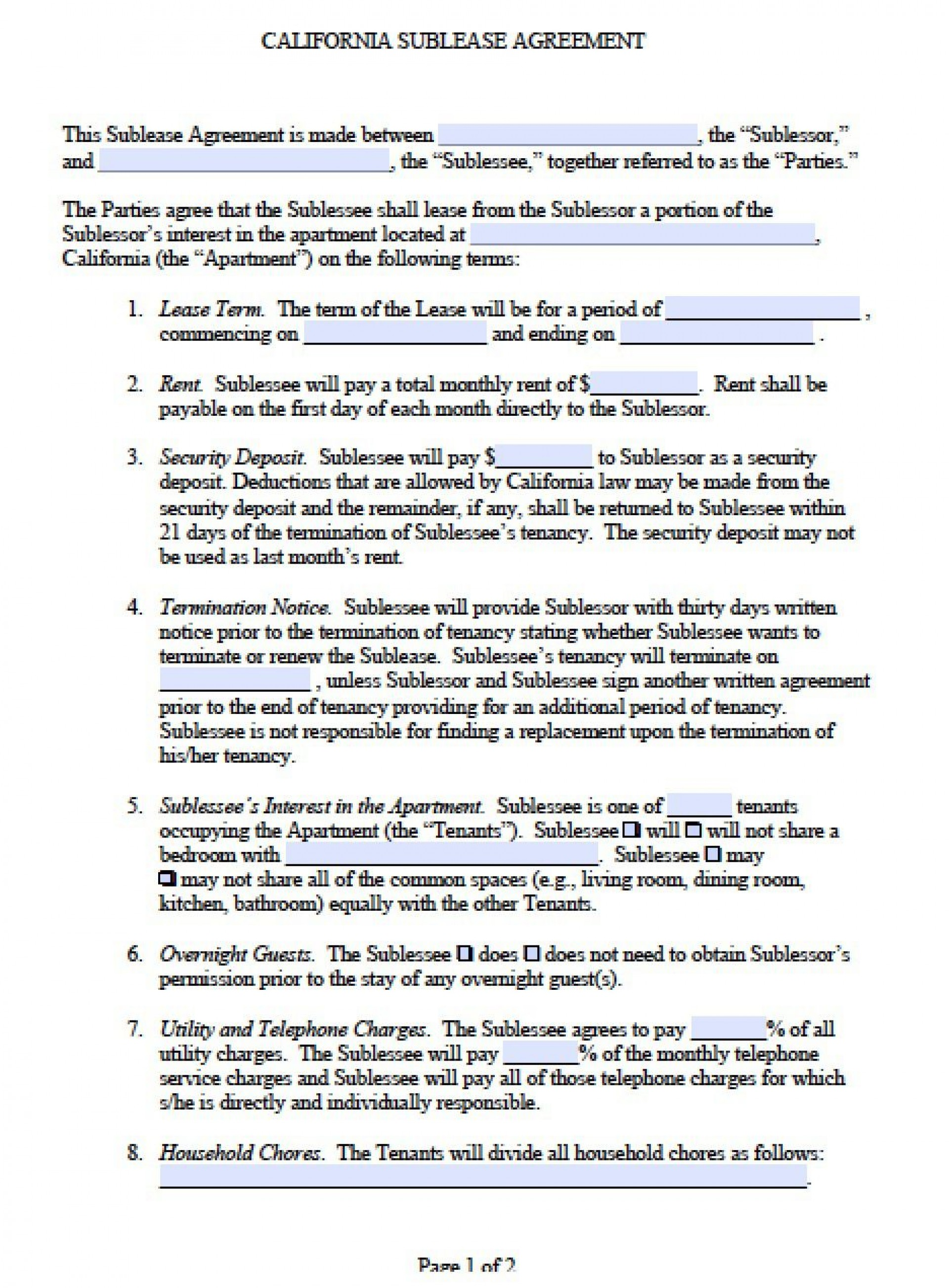 001 Stirring Free Sublease Agreement Template High Def  Lease Word South Africa1920