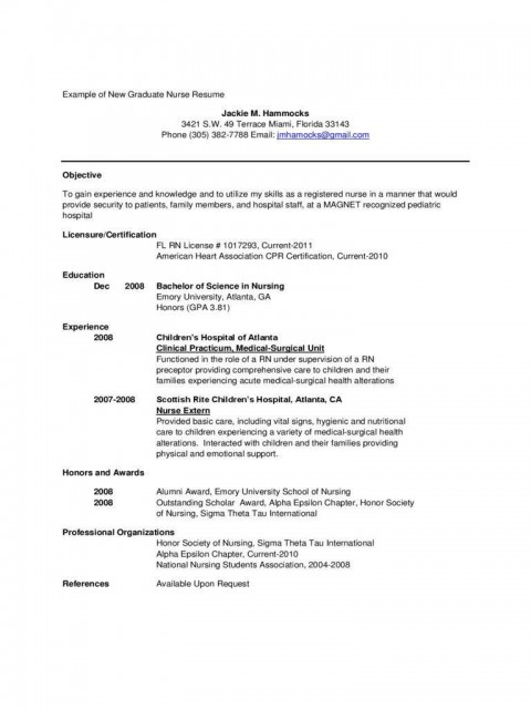 001 Stirring New Grad Nursing Resume Template Sample  Graduate Nurse Practitioner480