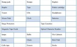001 Stirring Office Supply List Template Sample  Order Printable Medical