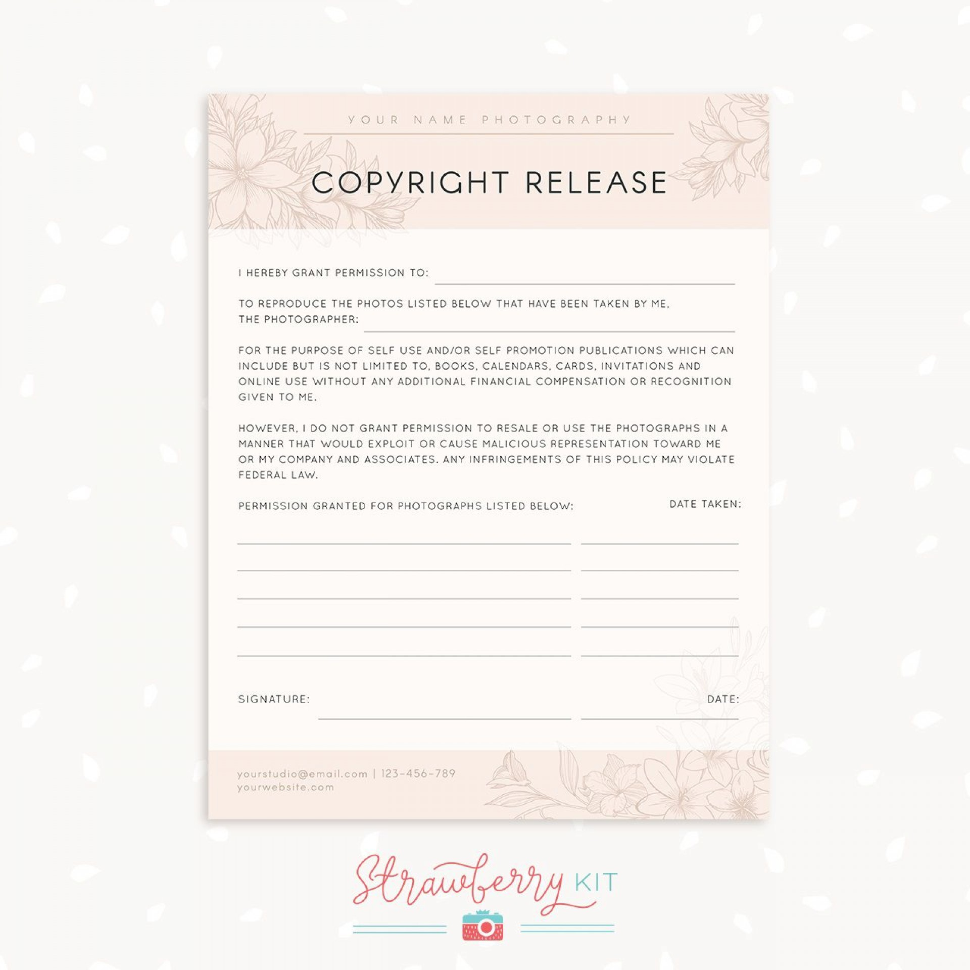 001 Stirring Photography Release Form Template Photo  Image Australia Canada1920