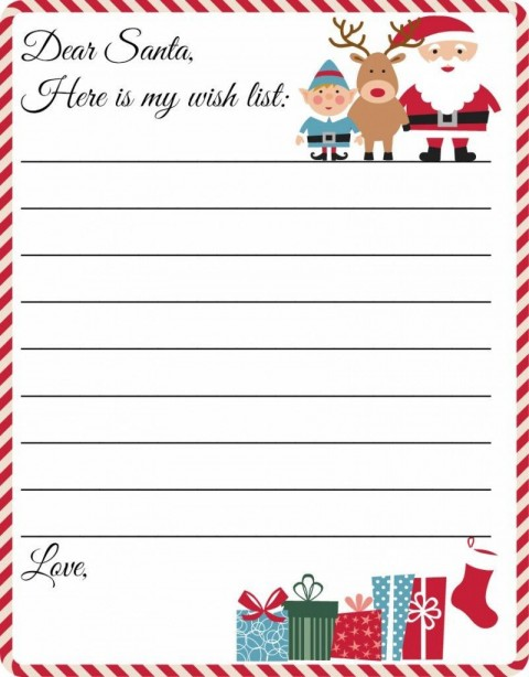 001 Stirring Printable Wish List Template Example  Santa Free Secret480