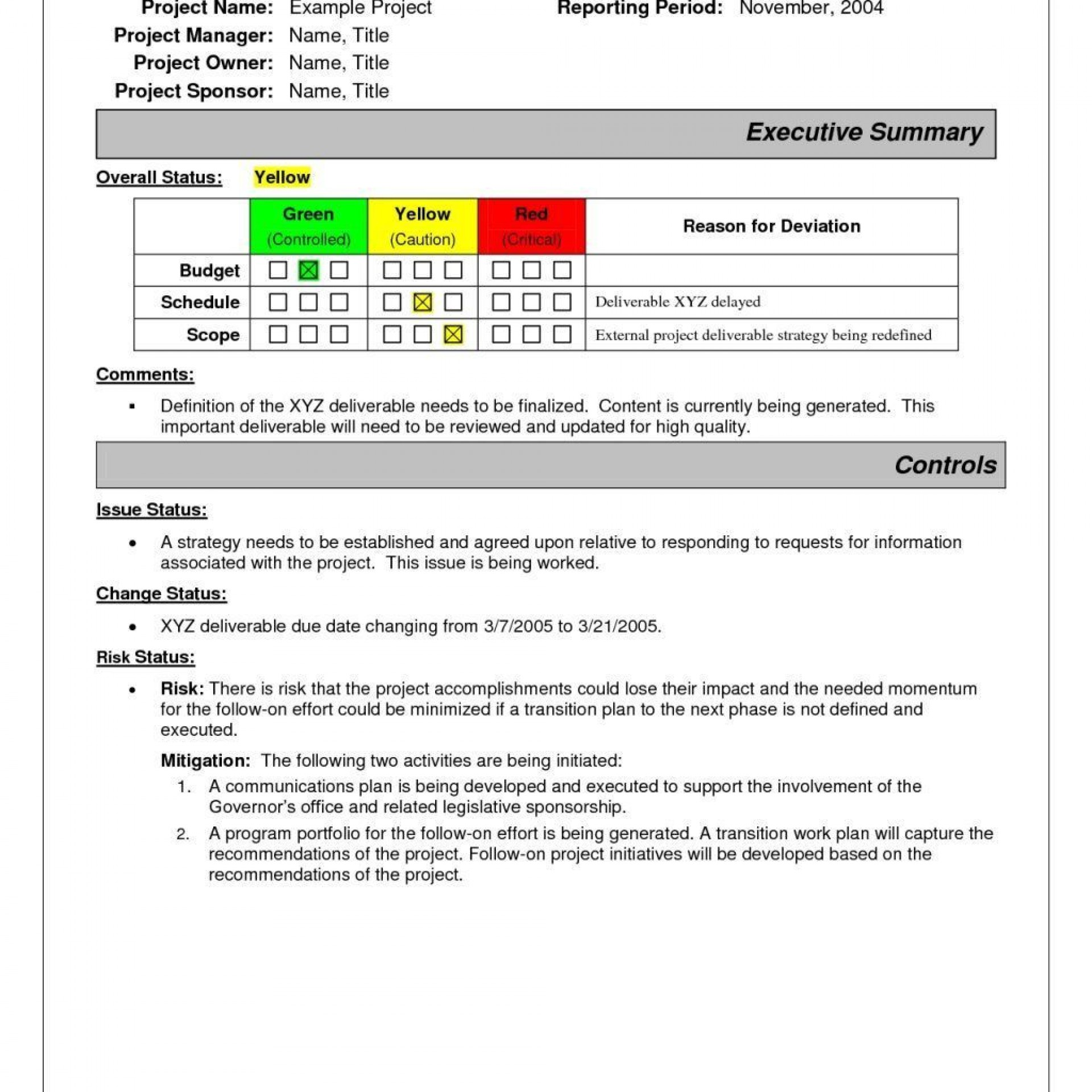 001 Stirring Project Management Weekly Statu Report Sample Inspiration  Template Excel Ppt1920