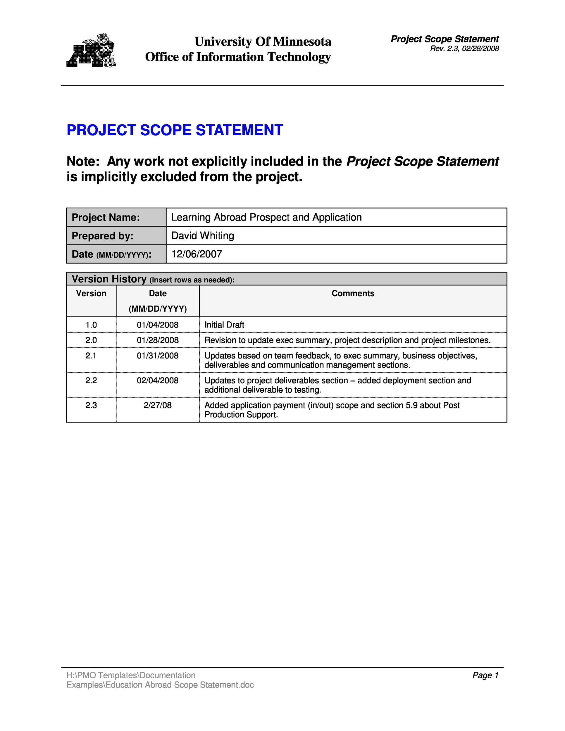 001 Stirring Simple Project Scope Template Image  Statement Example Pdf DocumentFull