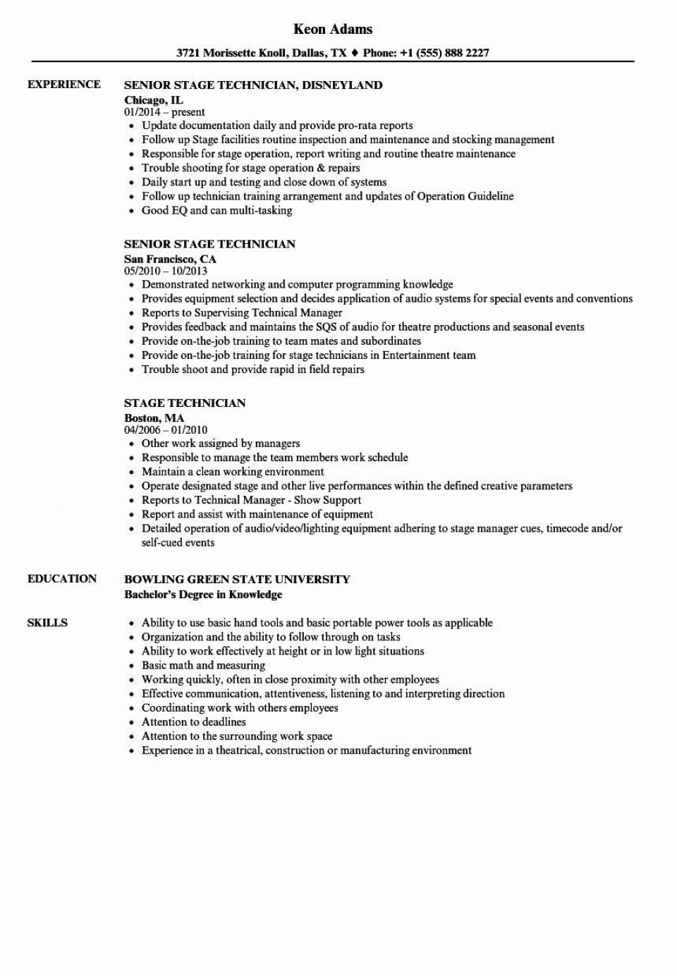 001 Stirring Technical Theatre Resume Template Concept  Google Doc Tech960