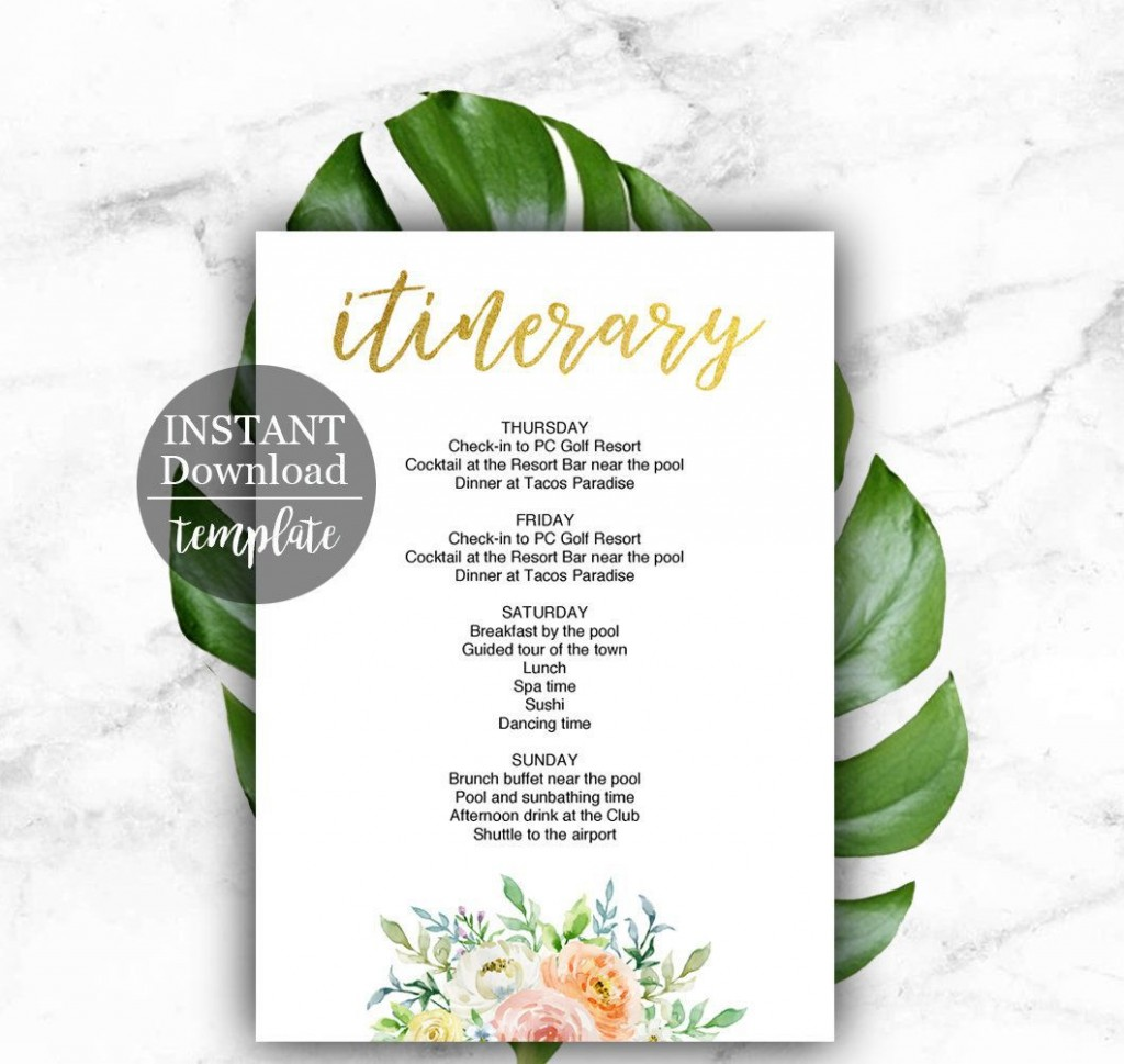 001 Striking Bachelorette Party Itinerary Template Free Highest Quality  DownloadLarge