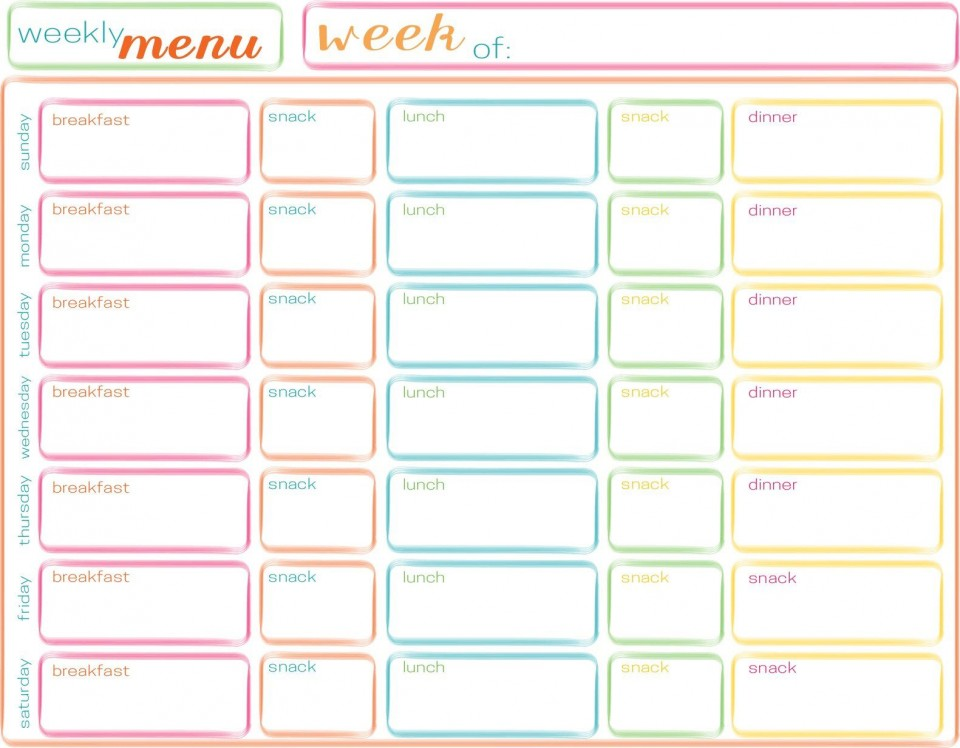 001 Striking Excel Weekly Meal Planner Template High Resolution  With Grocery List Downloadable960