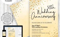 001 Striking Golden Wedding Anniversary Invitation Template Free Highest Quality  50th Microsoft Word Download