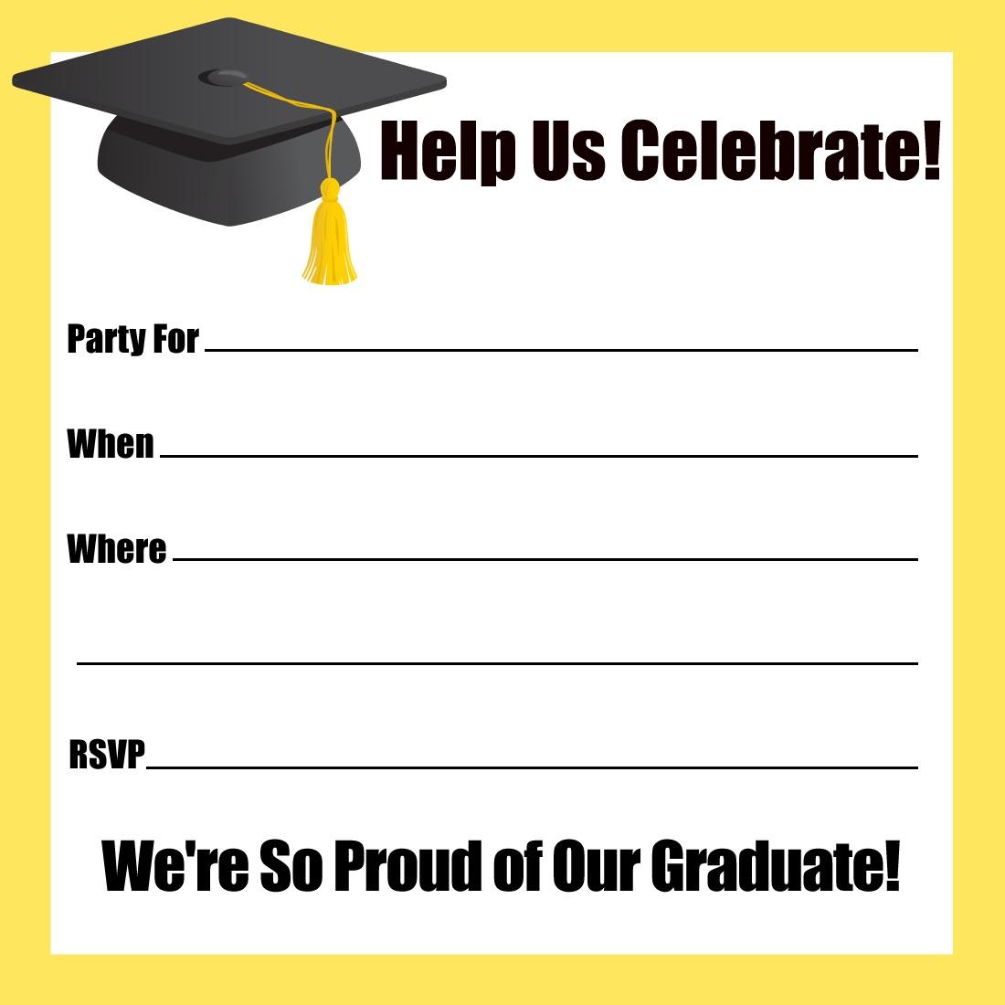001 Striking Graduation Party Invitation Template Idea  Microsoft Word 4 Per PageFull
