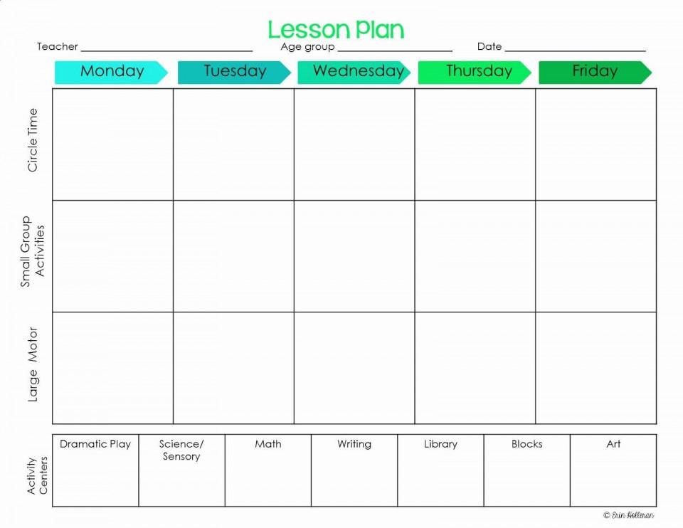 001 Striking Lesson Plan Template For Preschool Design  Format Teacher Free Printable960