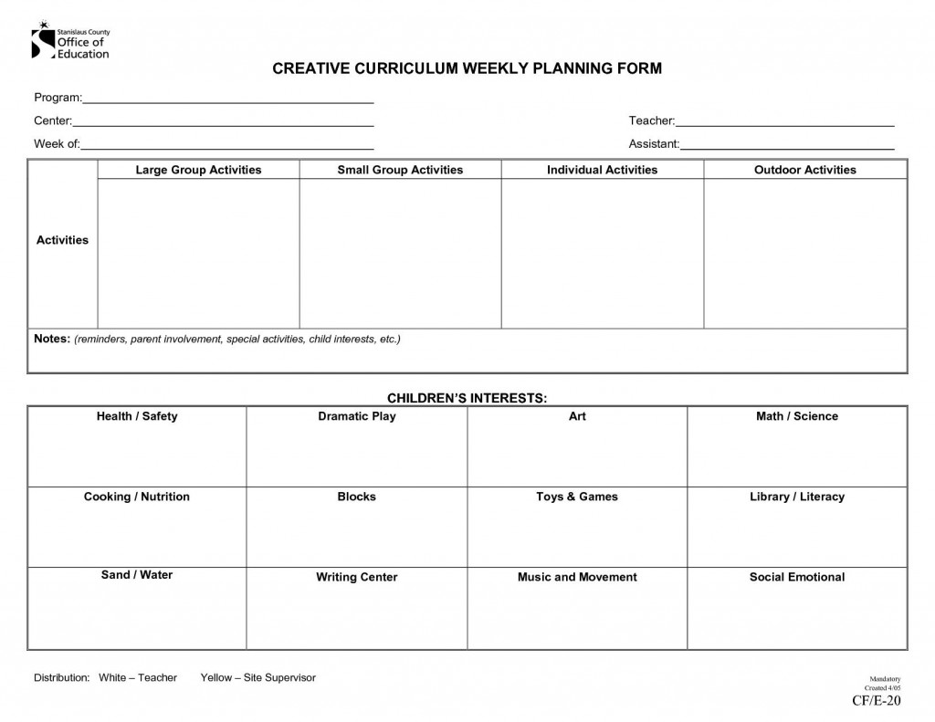 001 Striking Preschool Lesson Plan Template Picture  Free Printable Creative Curriculum DocLarge
