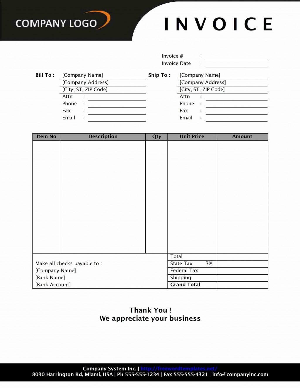 001 Striking Professional Invoice Template Word Design  Service MicrosoftLarge