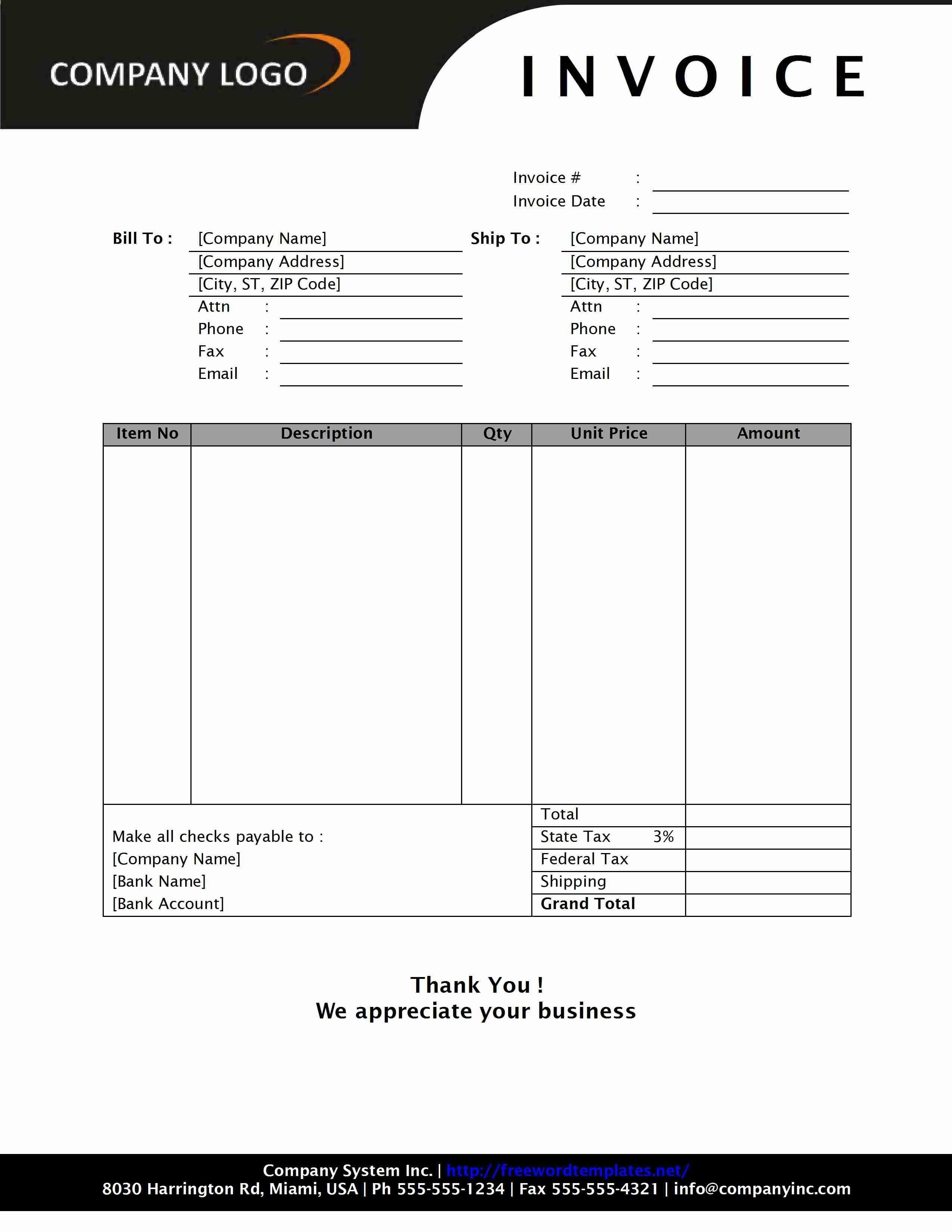 001 Striking Professional Invoice Template Word Design  Service MicrosoftFull