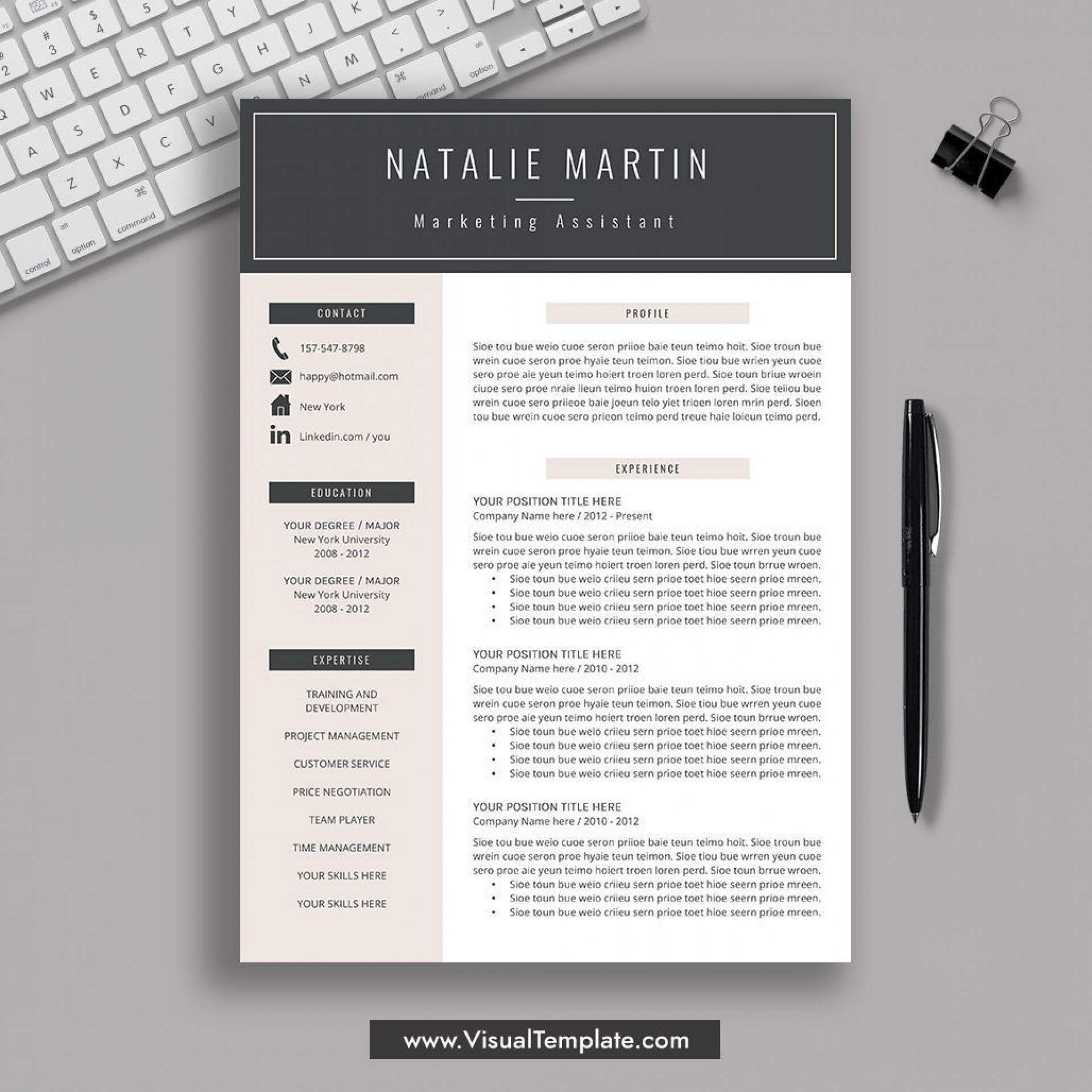 001 Striking Resume Template M Word 2019 Picture  Microsoft Free1920