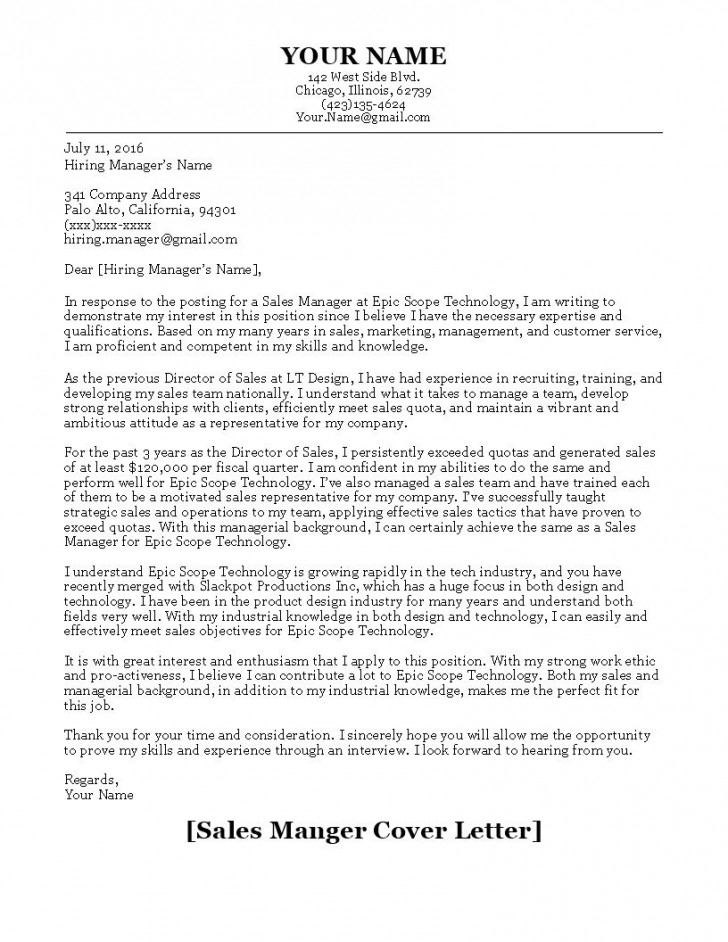 001 Striking Sale Cover Letter Template Picture  Account Manager Word Rep728