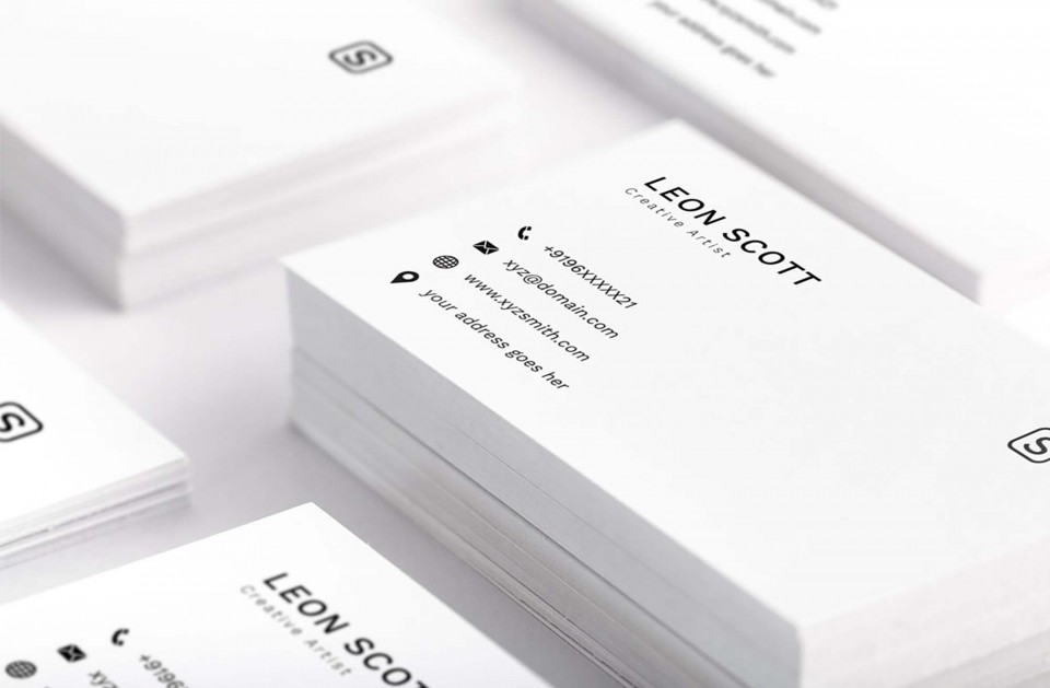 001 Striking Simple Busines Card Template Psd Inspiration  Design In Photoshop Minimalist Free960
