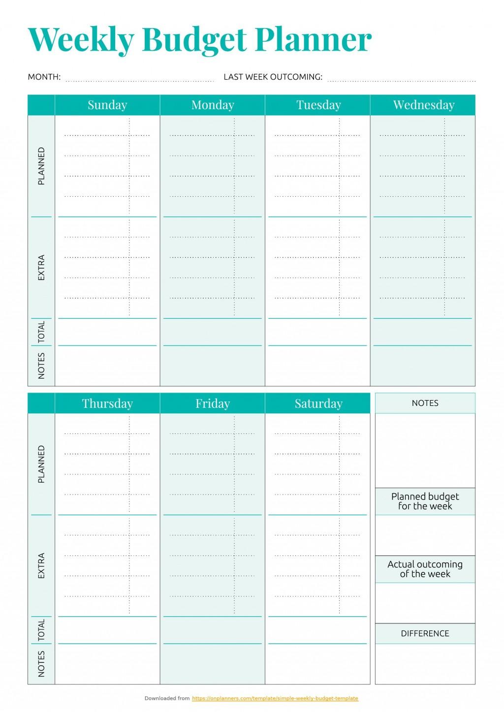 001 Striking Simple Weekly Budget Template Idea  Planner Personal PrintableLarge