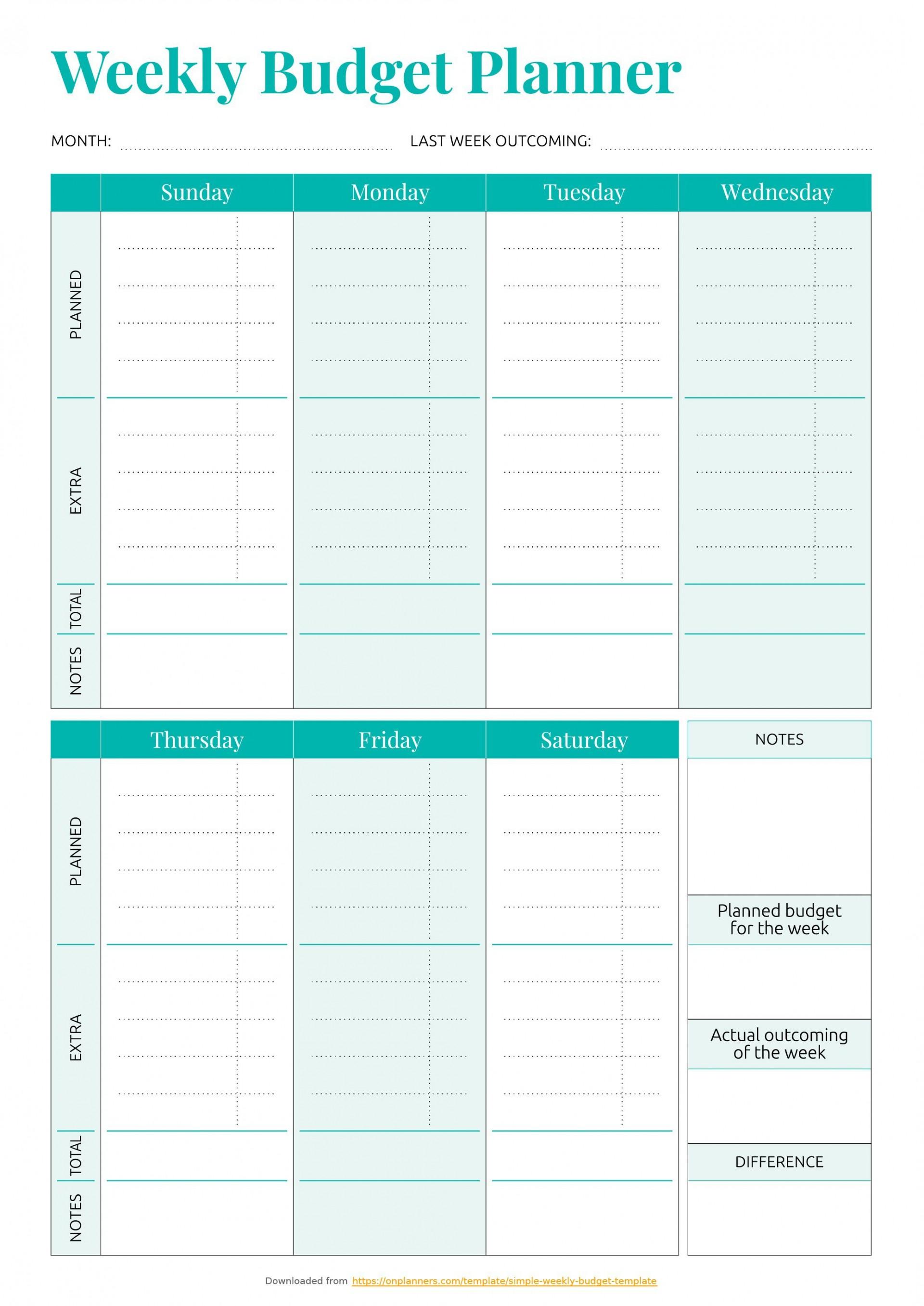 001 Striking Simple Weekly Budget Template Idea  Planner Personal Printable1920