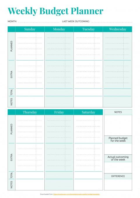 001 Striking Simple Weekly Budget Template Idea  Planner Personal Printable480