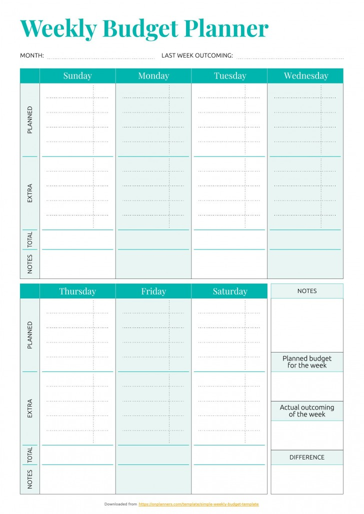 001 Striking Simple Weekly Budget Template Idea  Planner Personal Printable728