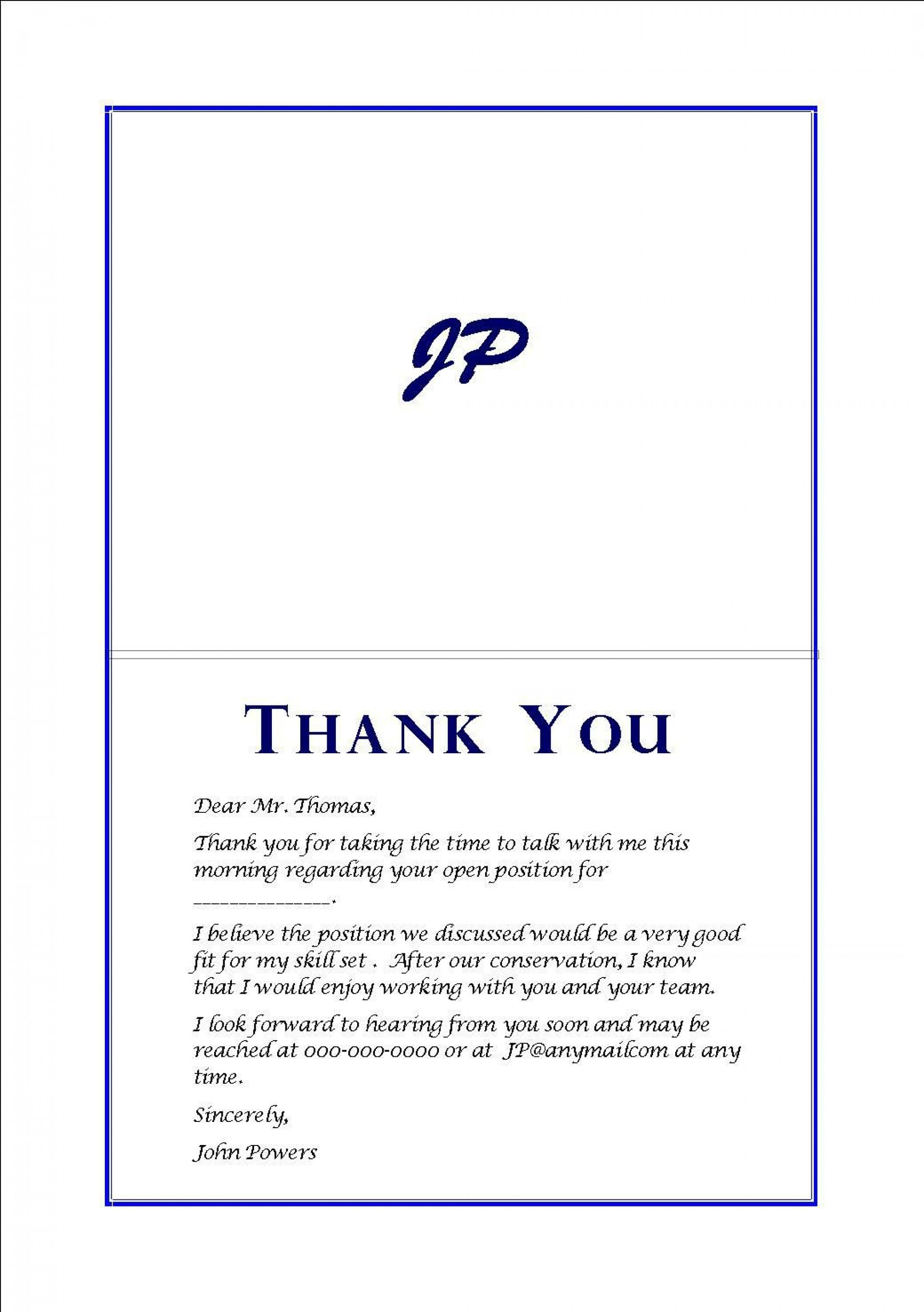 001 Striking Thank You Note After Interview Format Sample  Card For Template Handwritten Example Letter Question1920