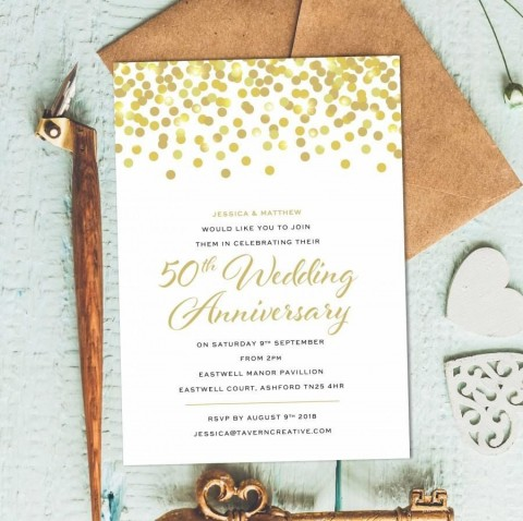 001 Stunning 50th Anniversary Party Invitation Template High Resolution  Wedding Free Download Microsoft Word480