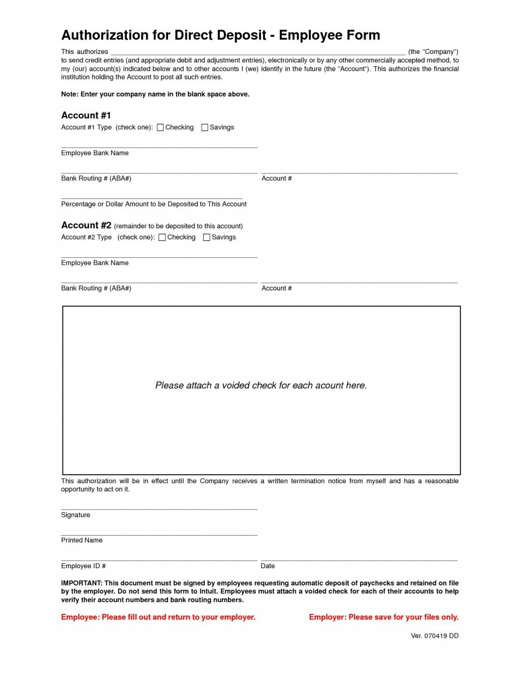 001 Stunning Direct Deposit Form Template Highest Quality  Multiple Account Ach AuthorizationLarge