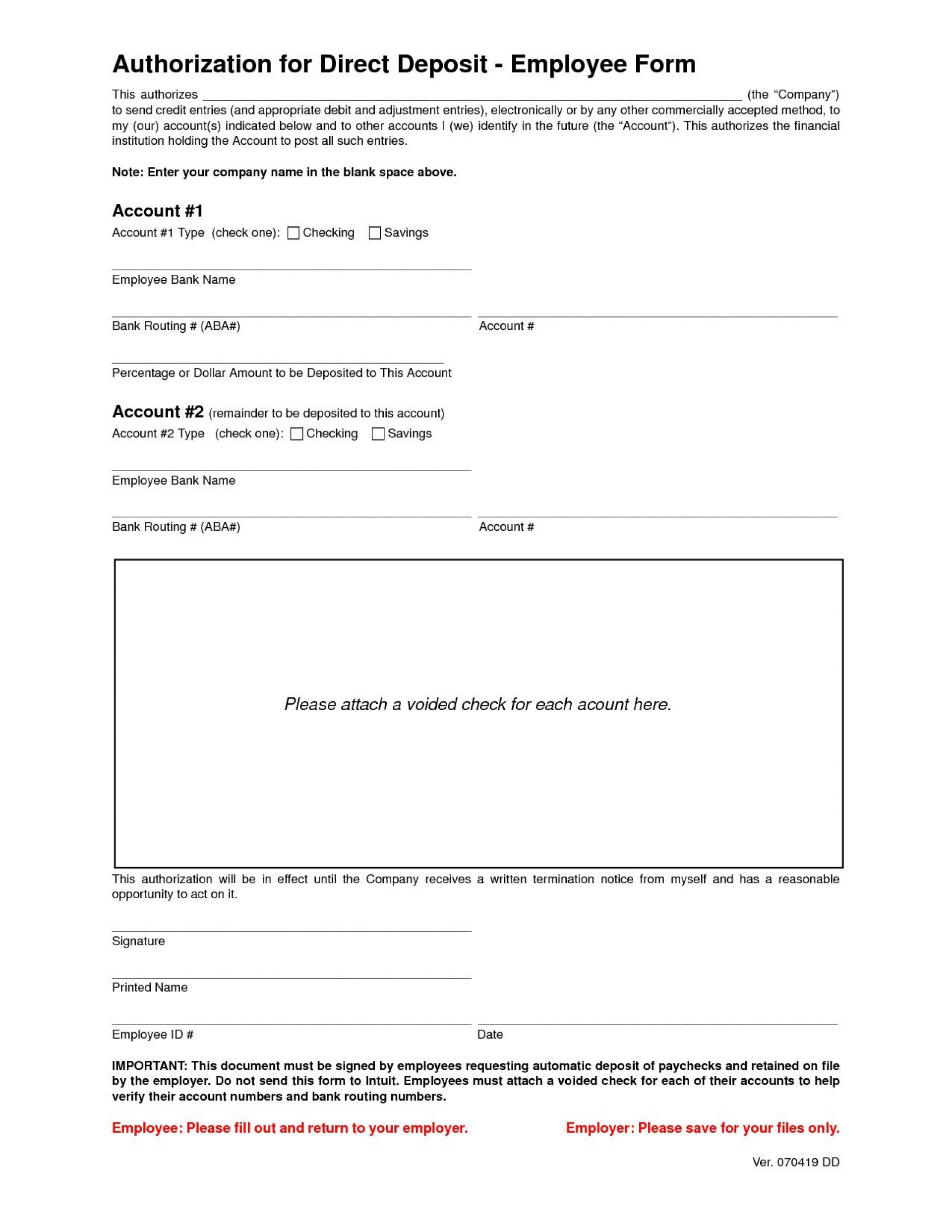 001 Stunning Direct Deposit Form Template Highest Quality  Multiple Account Ach Authorization1920