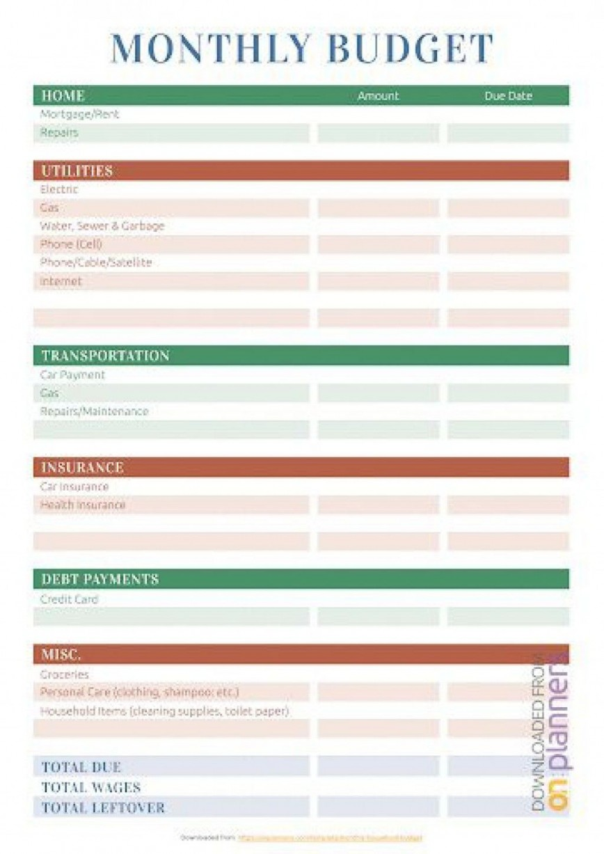 001 Stunning Free Printable Home Budget Template Highest Quality  Sheet Form868