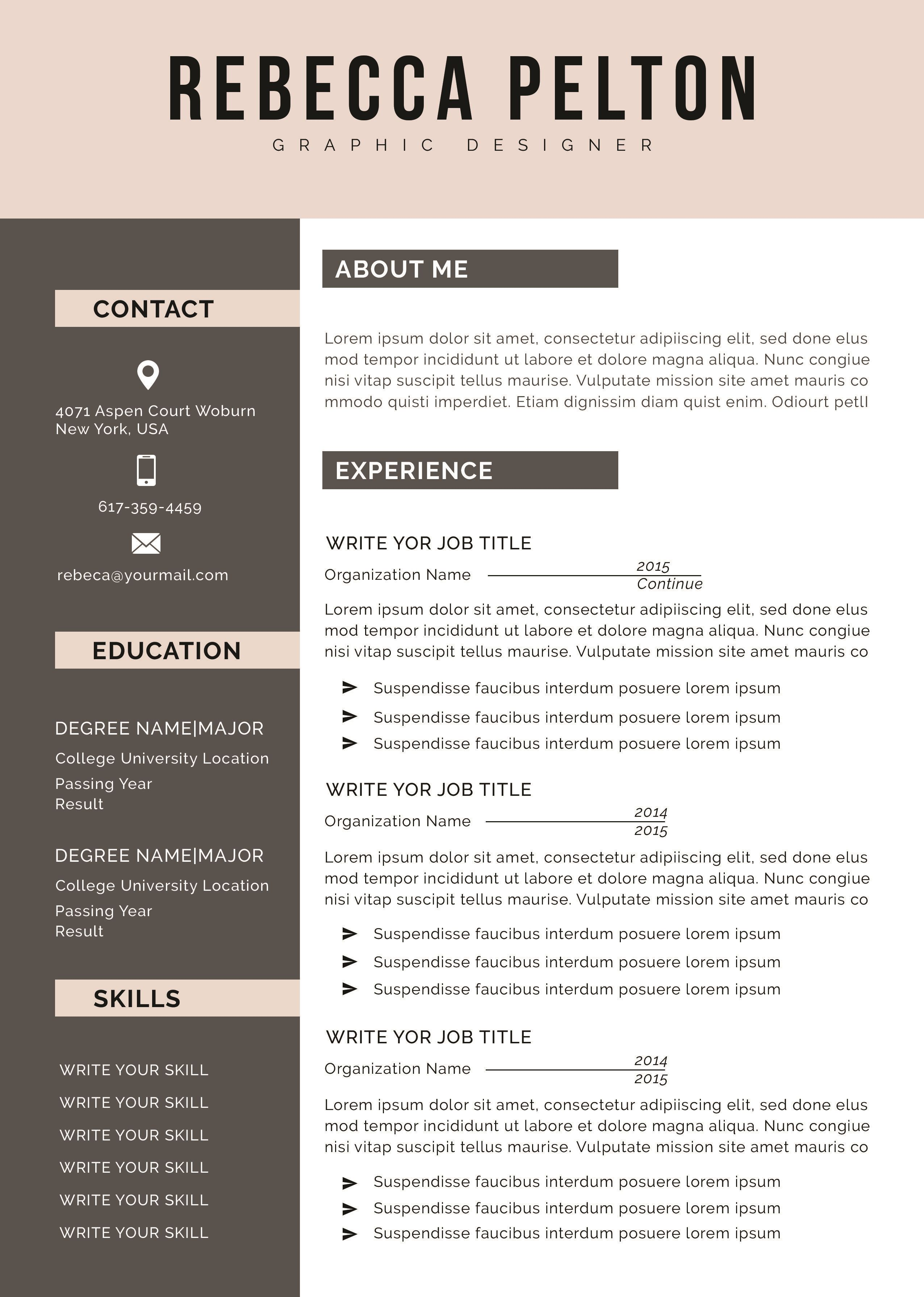 001 Stunning Free Printable Resume Template 2019 Concept Full