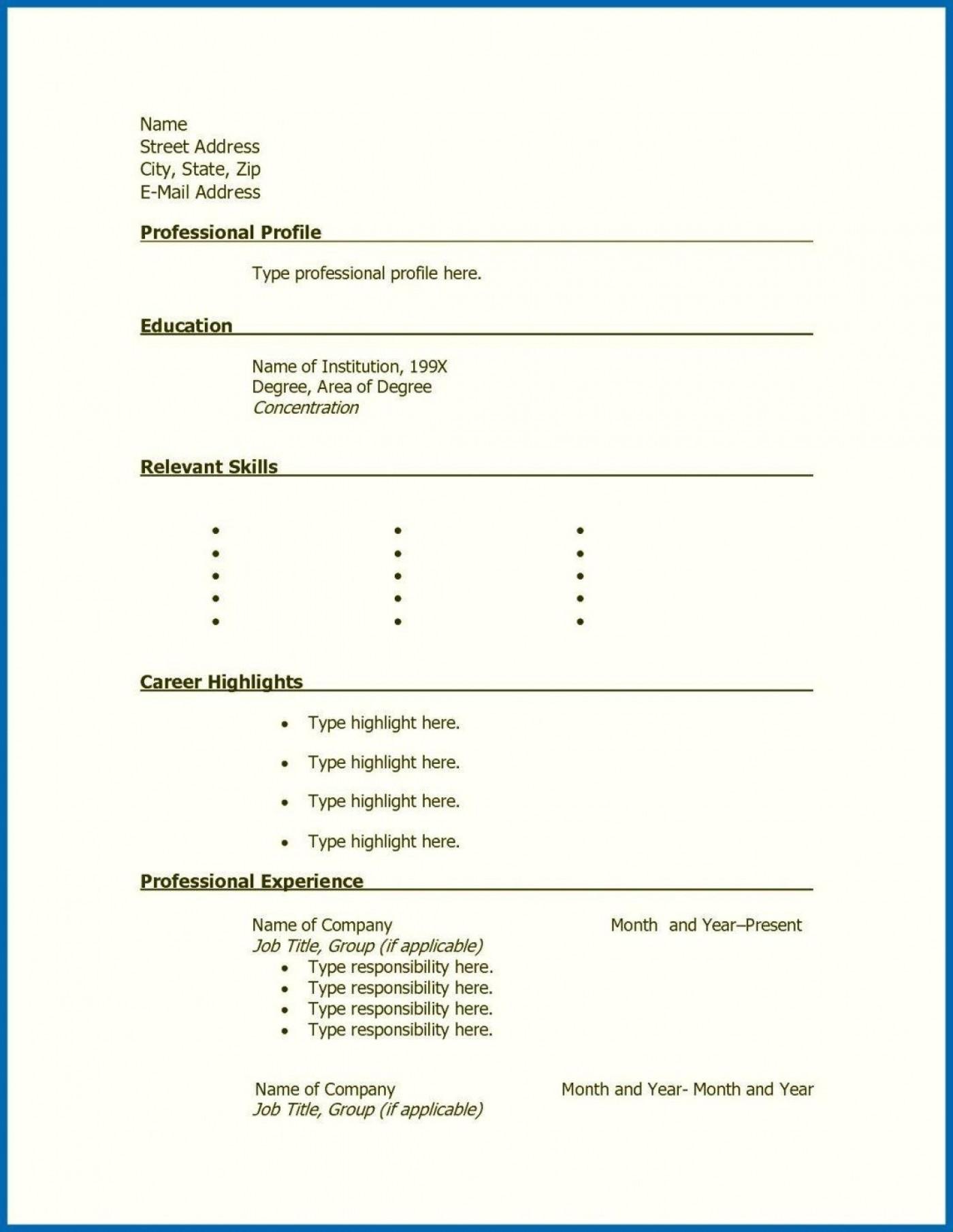 001 Stunning Free Printable Resume Template Blank Sample  Fill1400