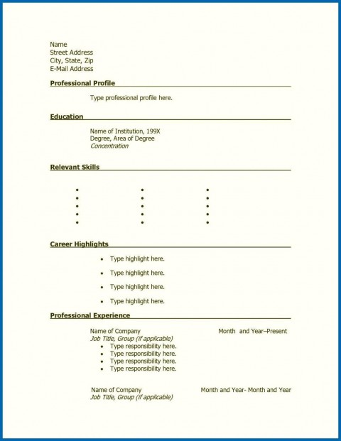 001 Stunning Free Printable Resume Template Blank Sample  Fill480