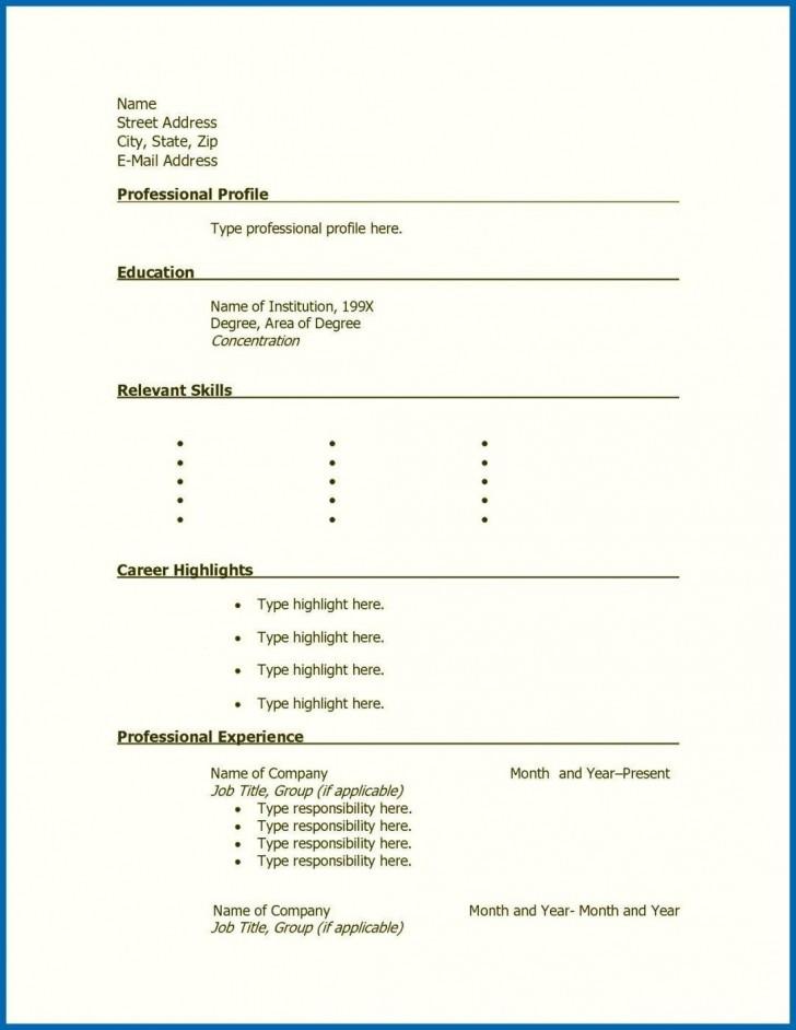 001 Stunning Free Printable Resume Template Blank Sample  Fill728