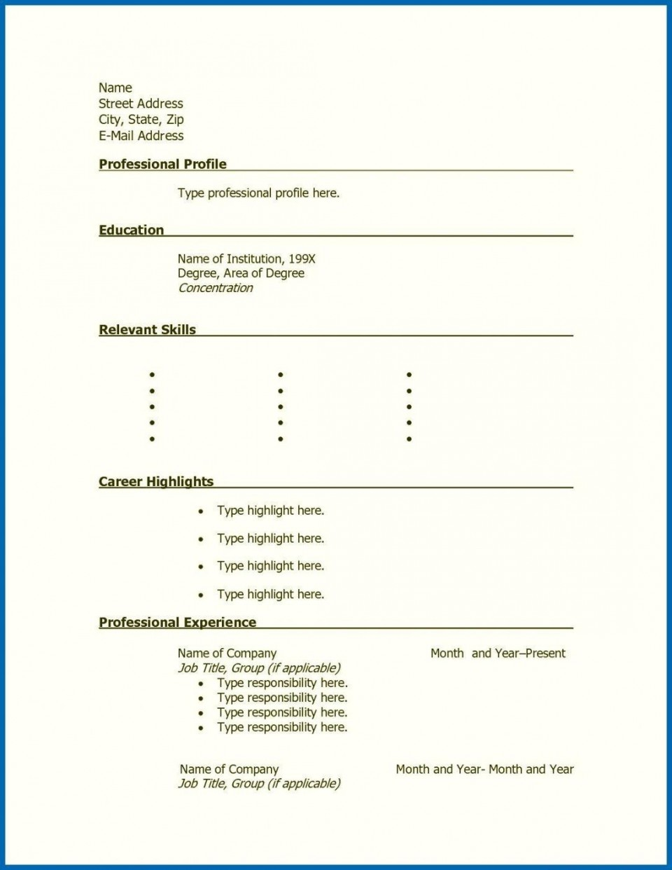 001 Stunning Free Printable Resume Template Blank Sample  Fill960