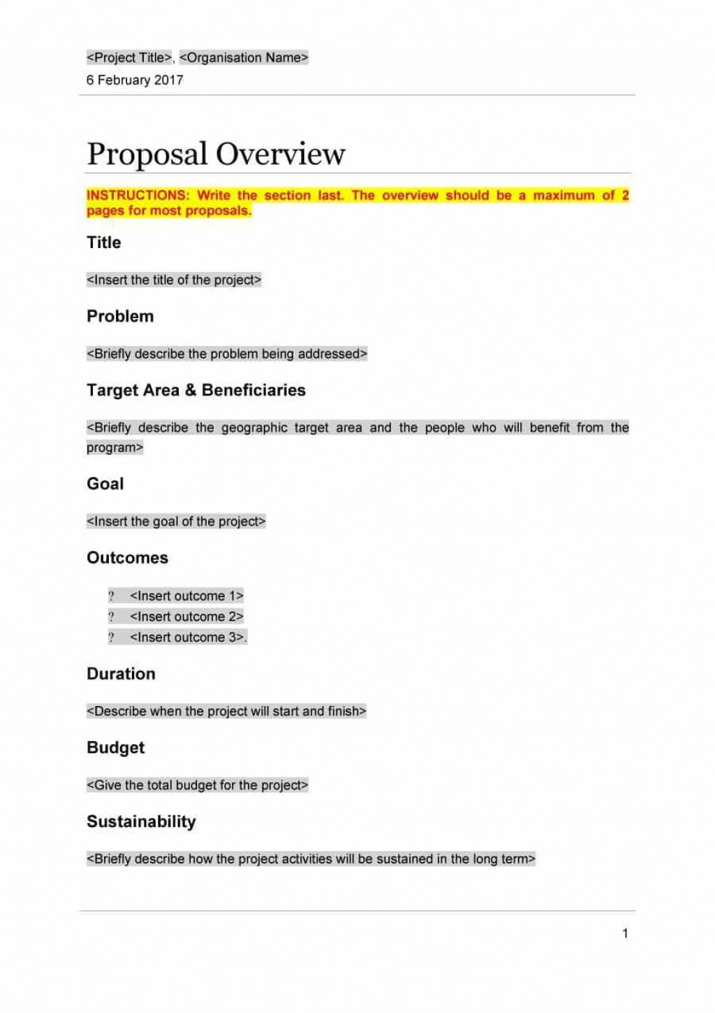 001 Stunning Free Project Proposal Template High Resolution  Document Ppt PdfLarge