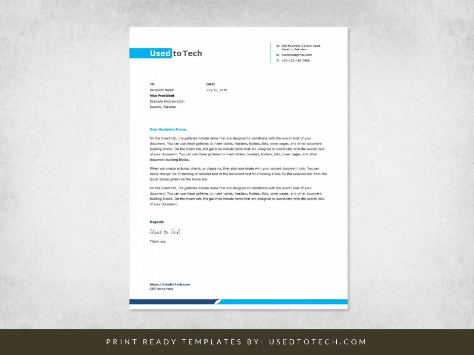 001 Stunning Letterhead Example Free Download Design  Format In Word For Company Pdf960