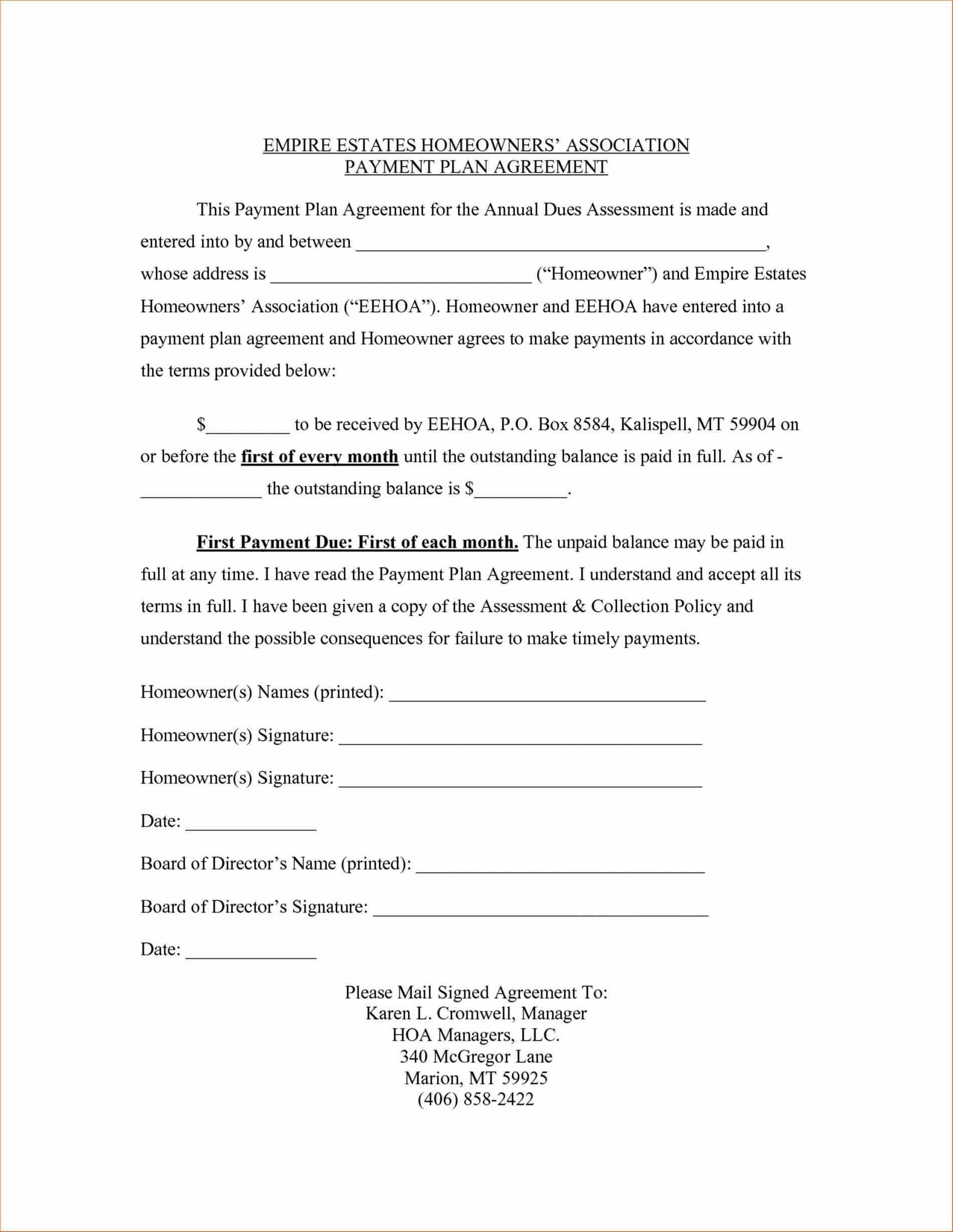 001 Stunning Payment Plan Agreement Template Concept  FreeFull