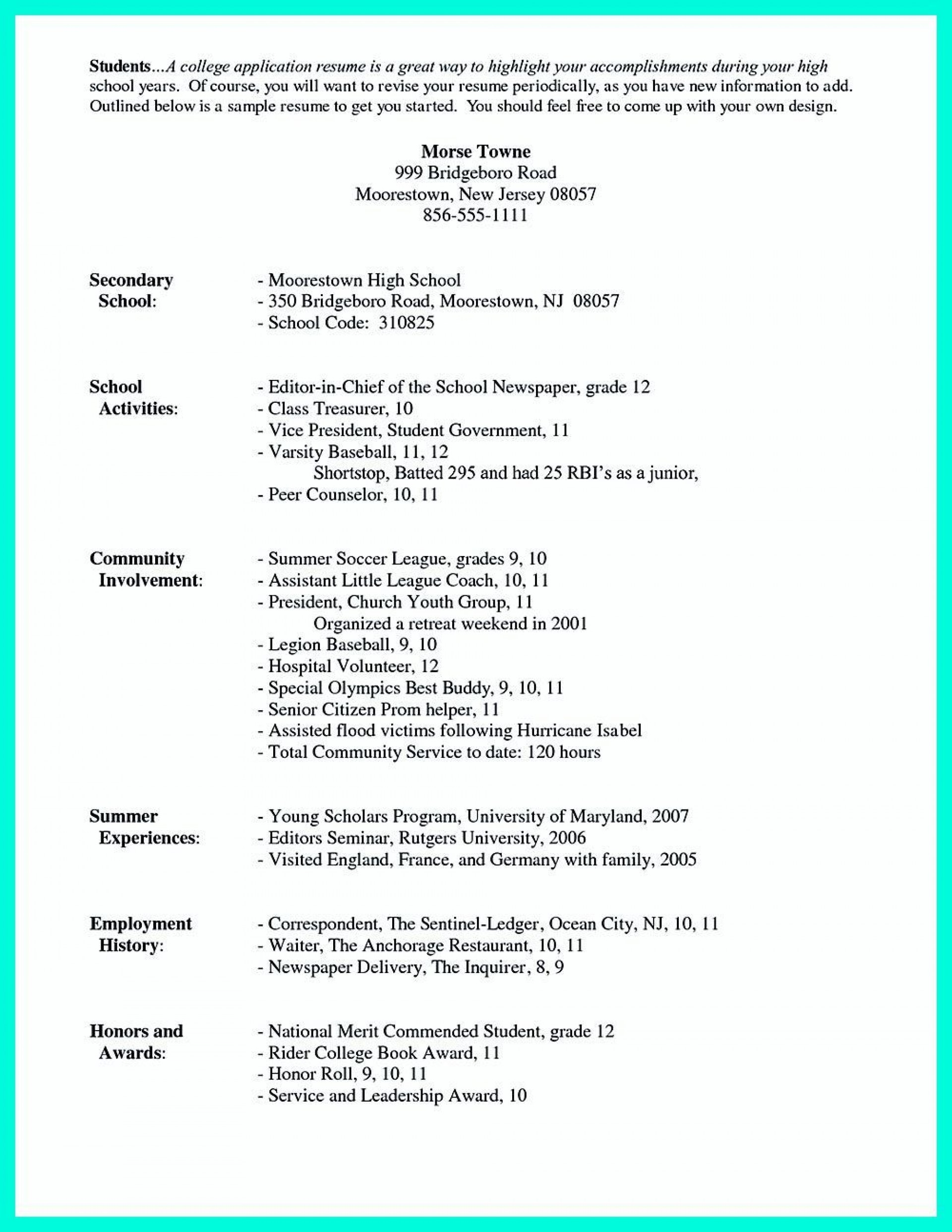 001 Stunning Resume For College Application Template Highest Quality  Templates1920