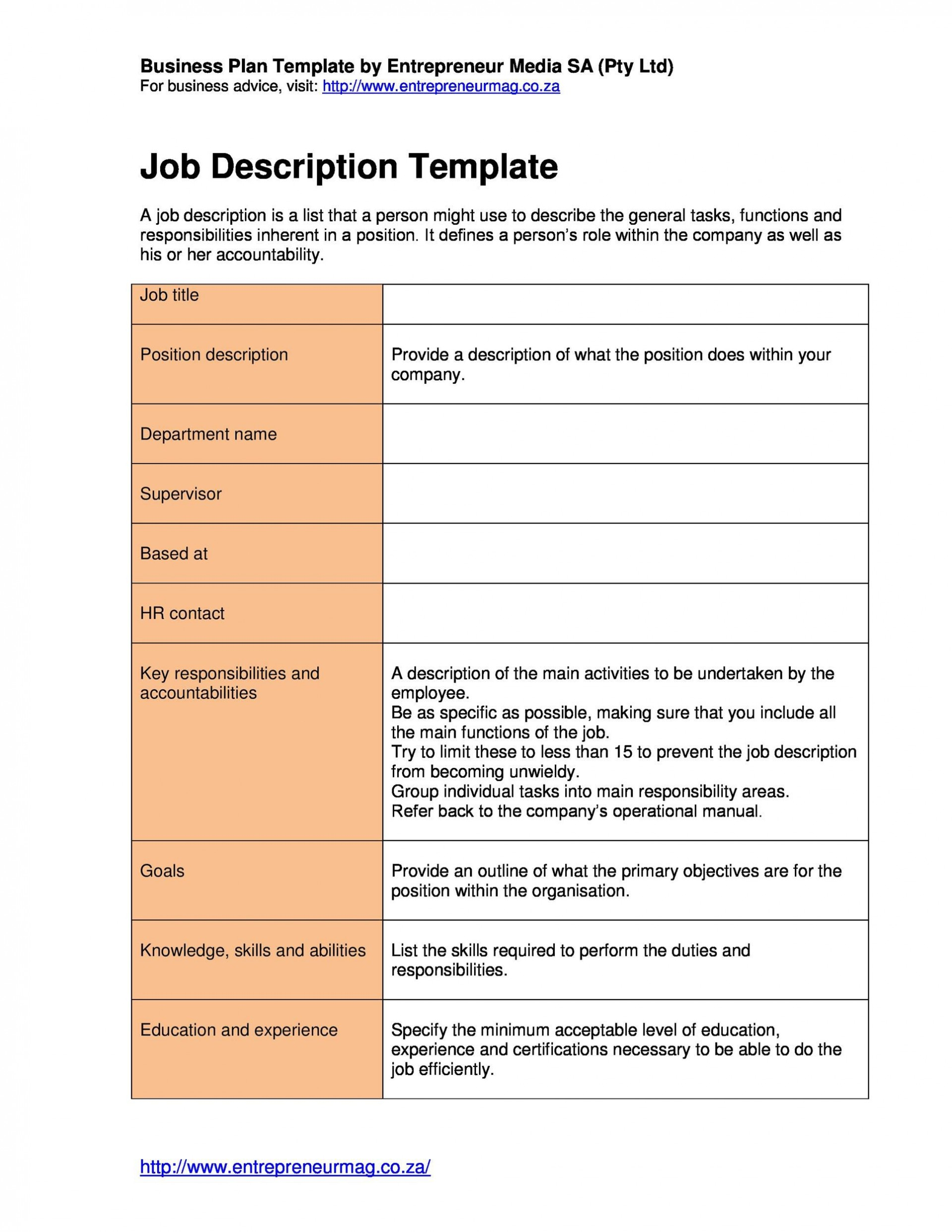 001 Stunning Role And Responsibilitie Template Image  Employee Excel Google Doc1920