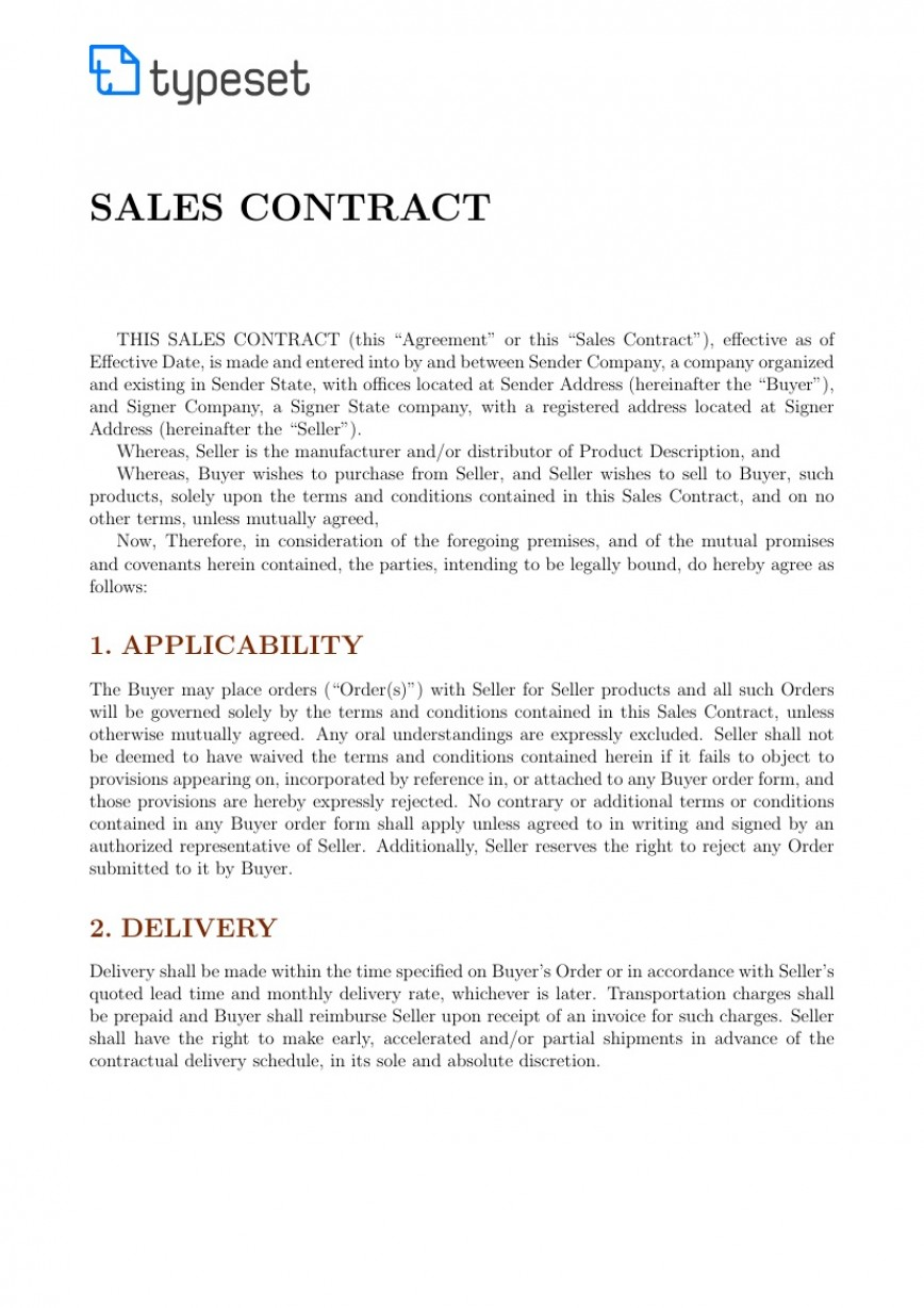 001 Stunning Sale Contract Template Word Highest Clarity  International Format