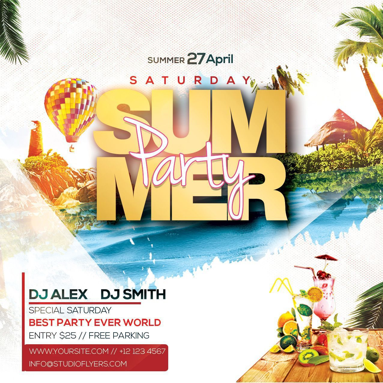 001 Stunning Summer Party Flyer Template Free Download Example Full