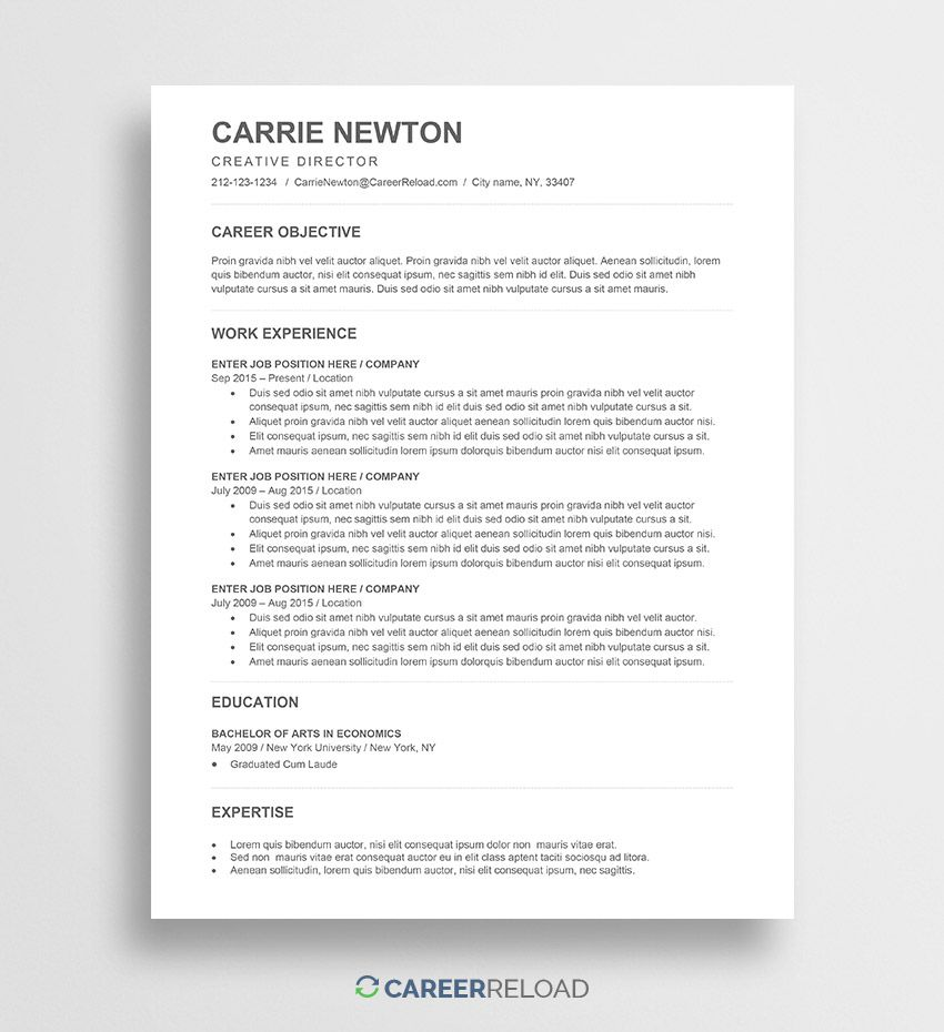 001 Stunning Word Template For Resume Highest Clarity  Resumes M Free Best Document DownloadFull
