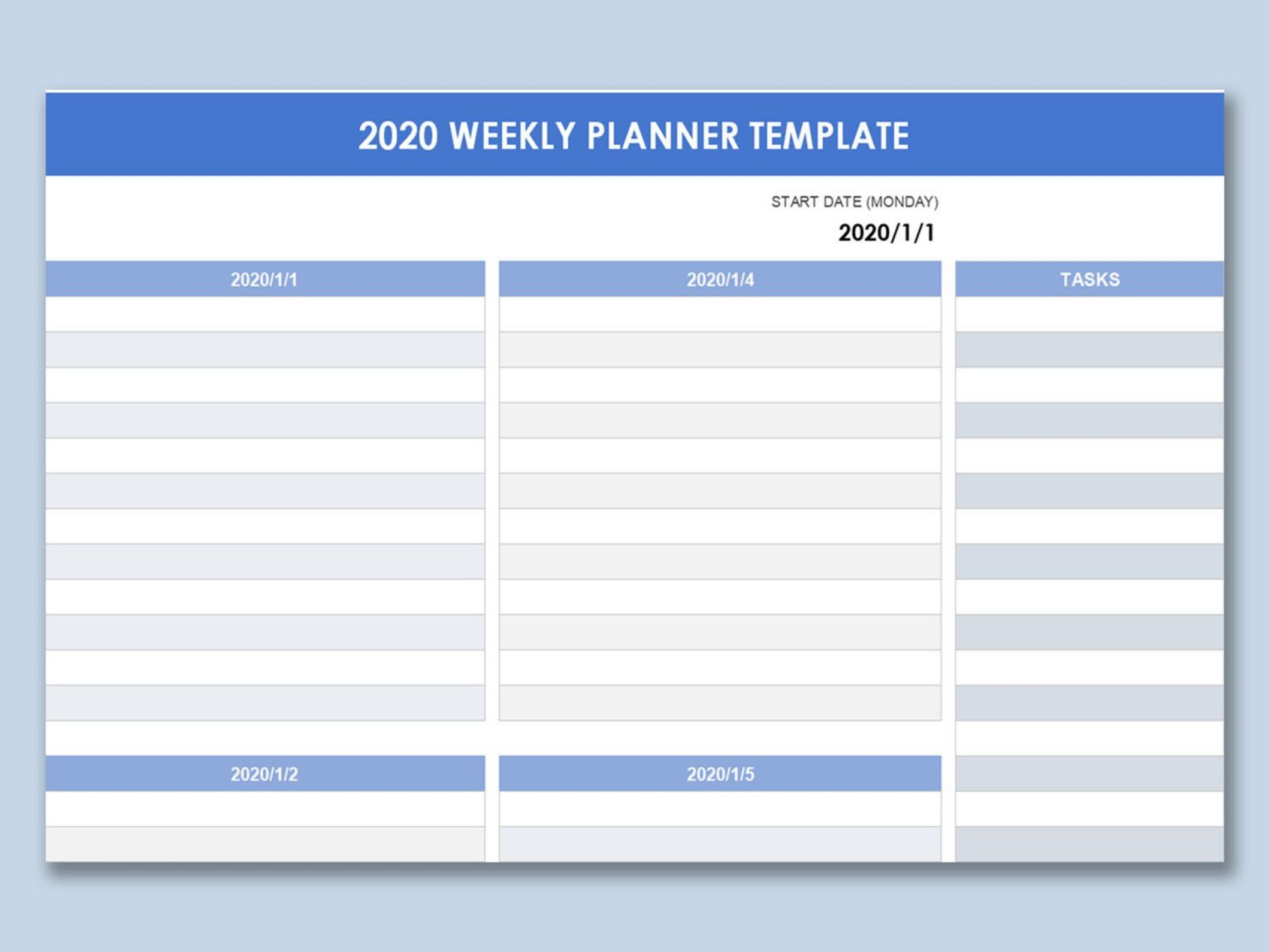001 Stupendou Excel Weekly Timetable Template Design  Planner 2020 Meal 20191920