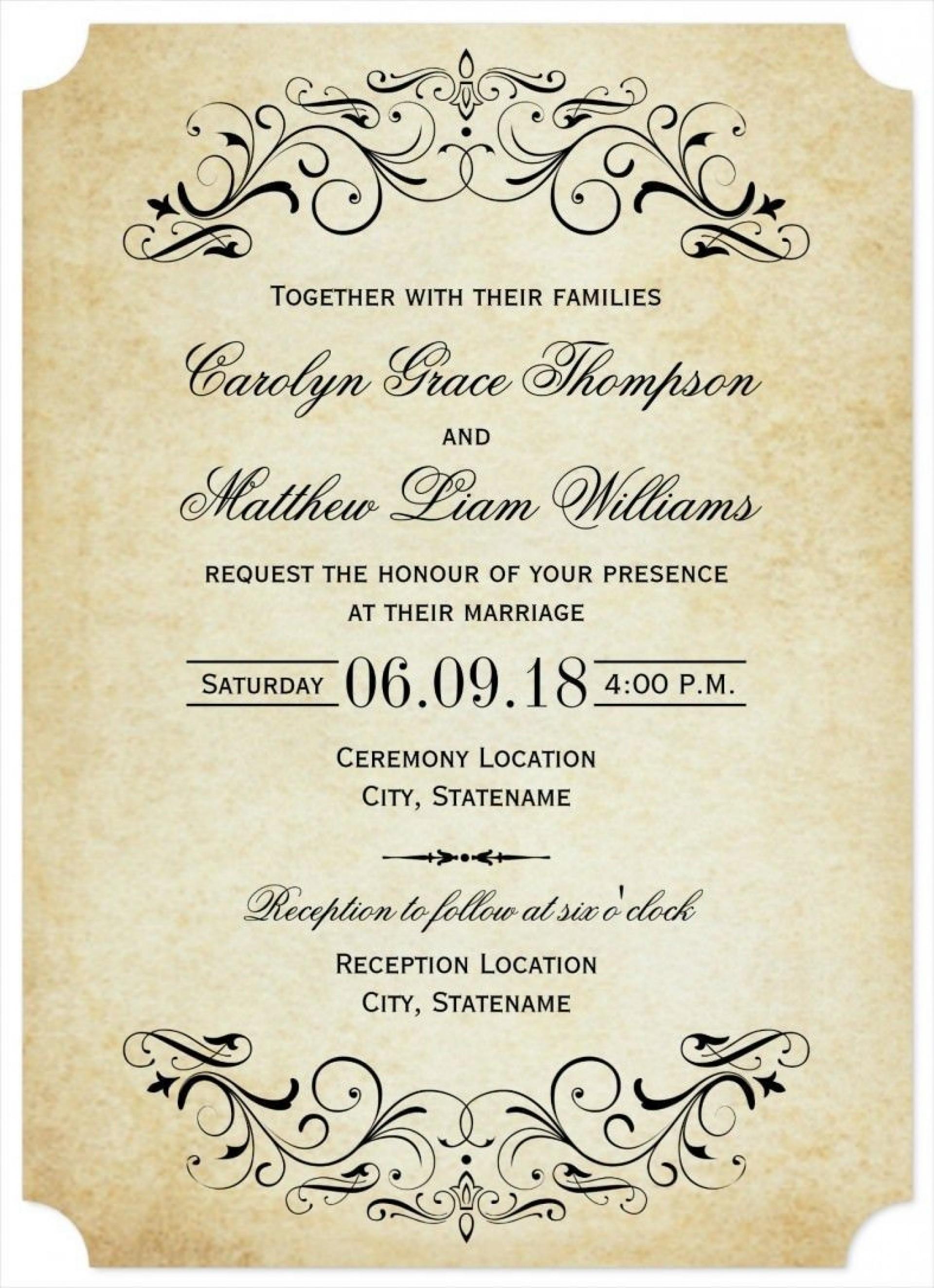 001 Stupendou Formal Wedding Invitation Template Highest Quality  Templates Email Format Wording Free1920