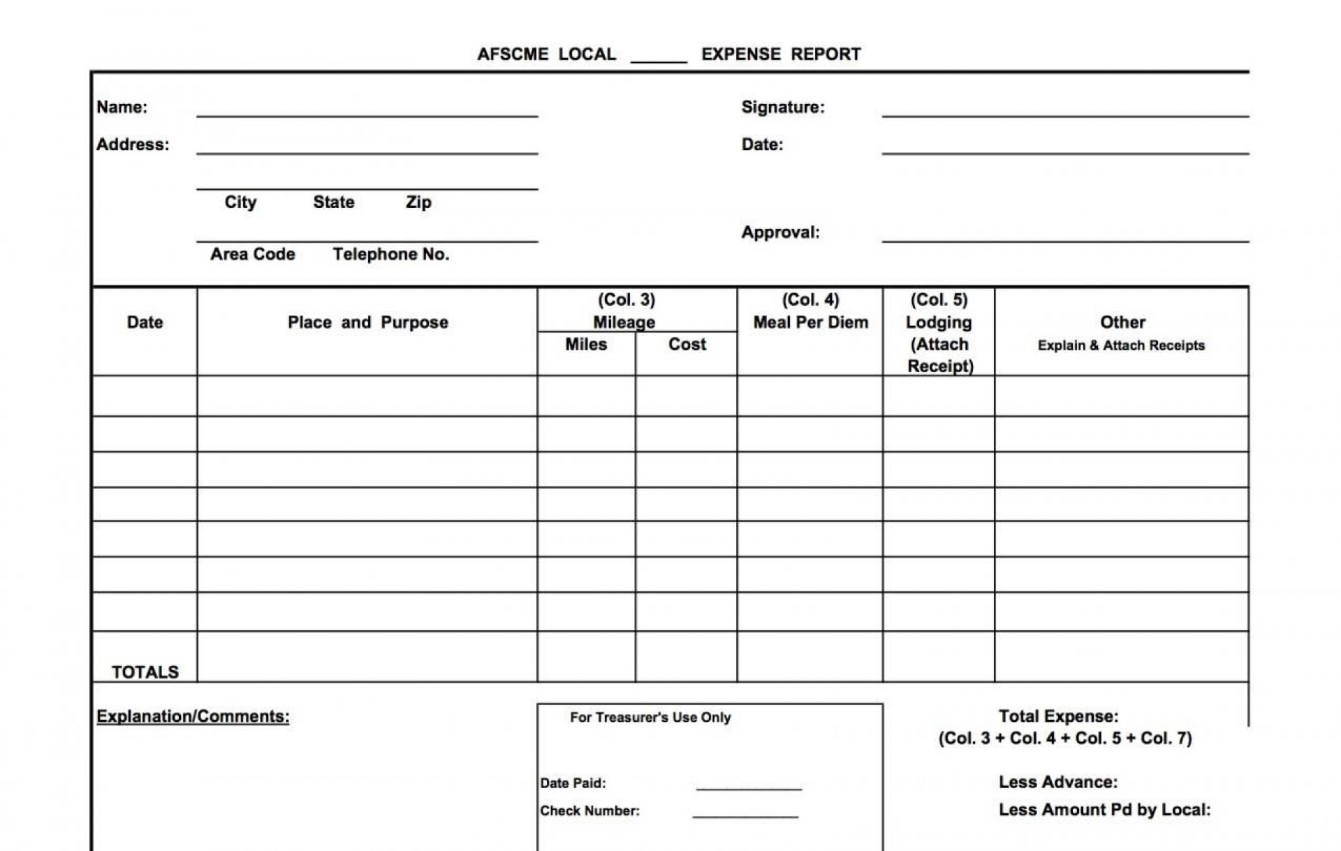 001 Stupendou Free Blank Expense Report Form Photo  Forms Template1920