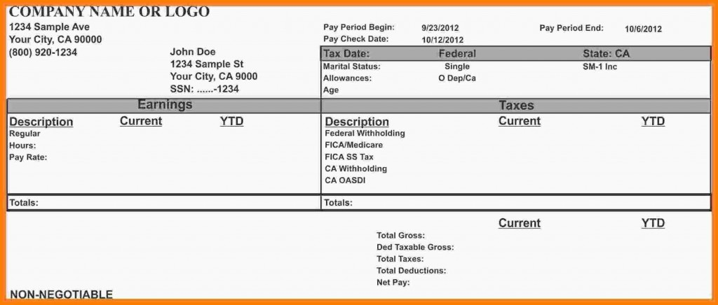 001 Stupendou Free Paycheck Stub Template Design  Check Download PayLarge