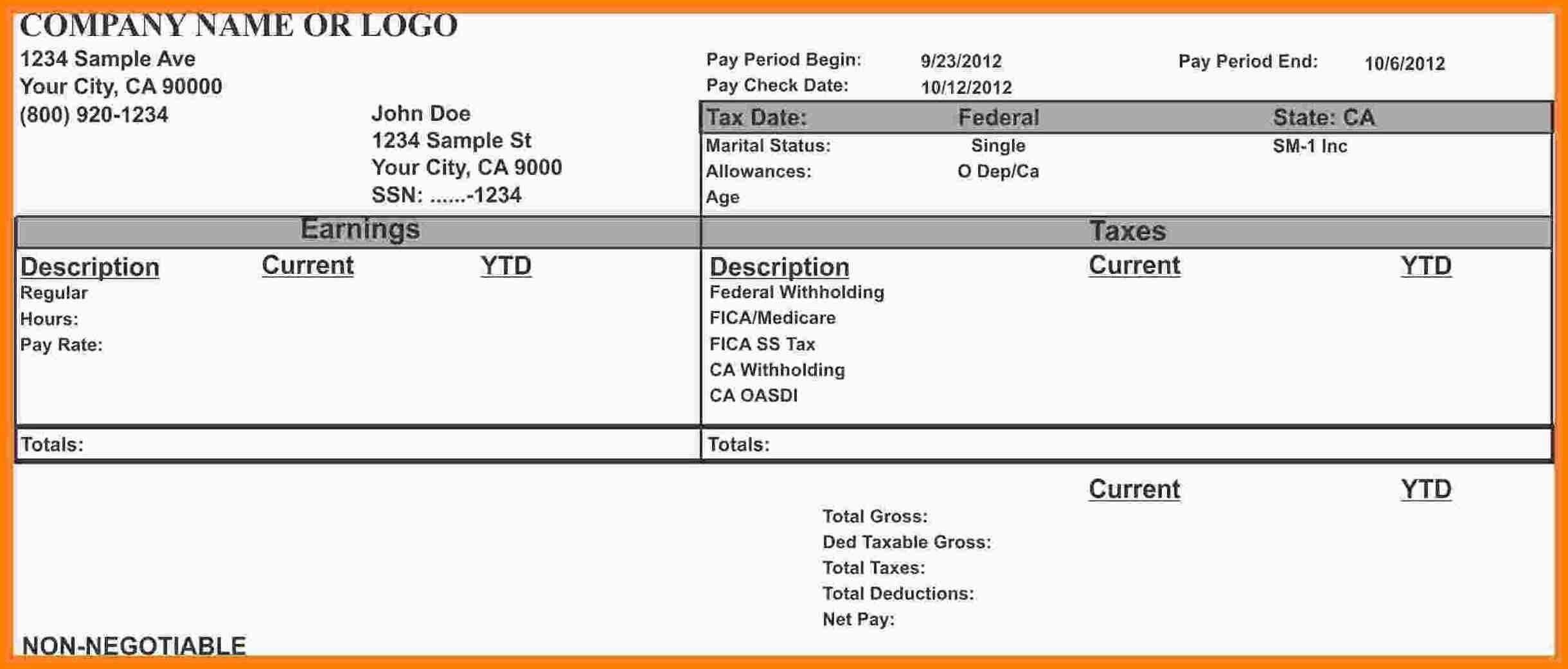 001 Stupendou Free Paycheck Stub Template Design  Check Download PayFull