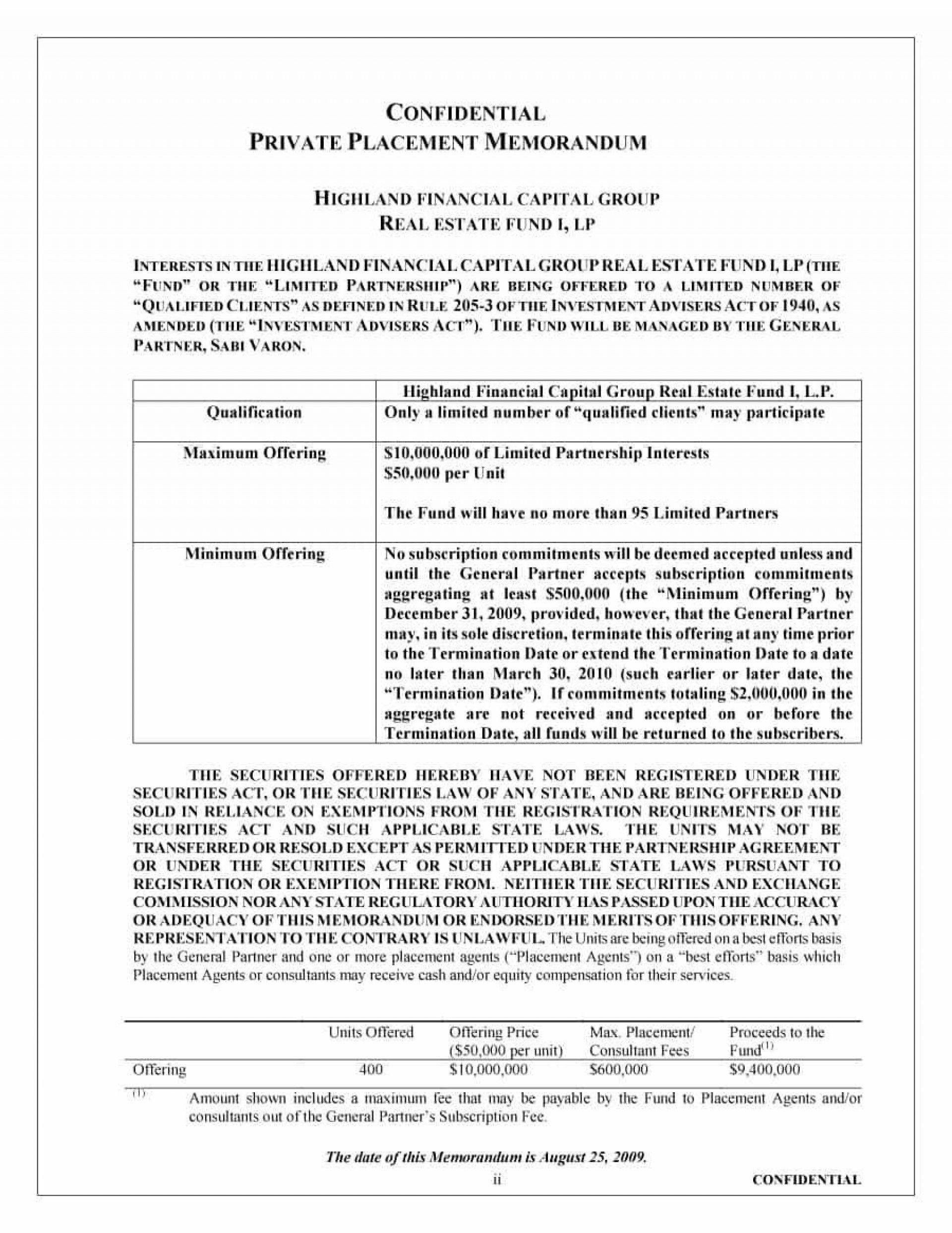 001 Stupendou Private Placement Memorandum Format Example  Template Canada Form Uk1920