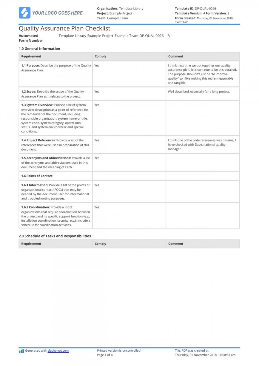 001 Stupendou Quality Control Plan Template Excel Inspiration  Construction Format868