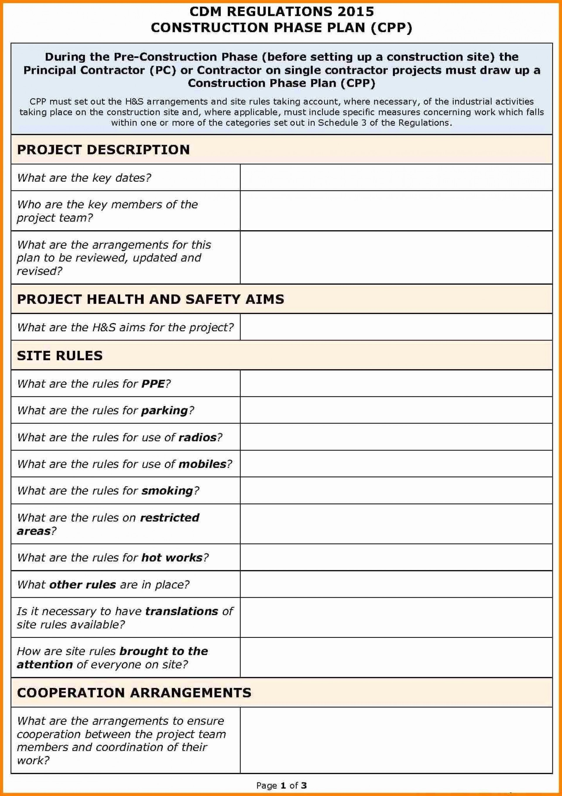 001 Stupendou Site Specific Safety Plan Checklist Example Inspiration 1920